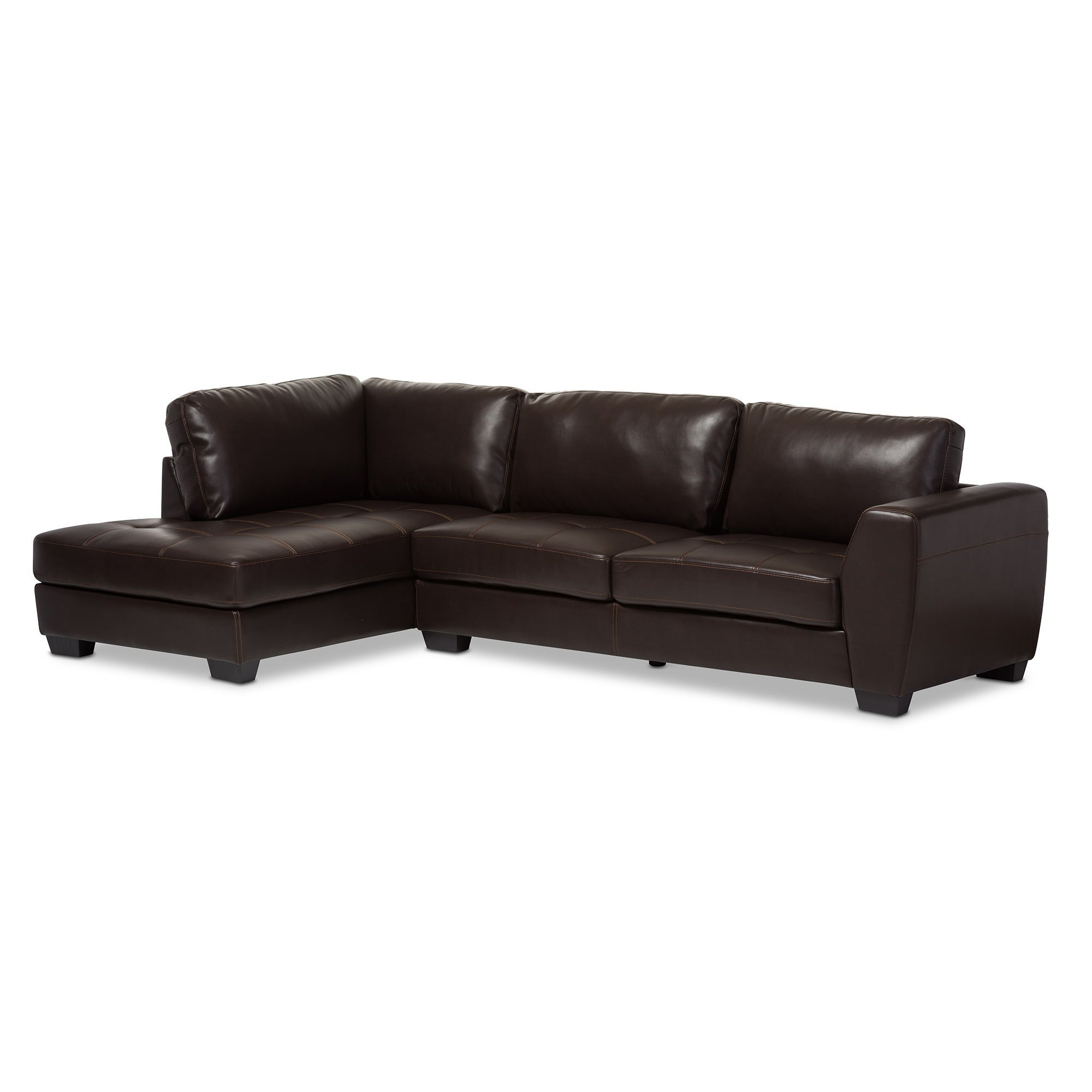 orland brown leather modern sectional sofa set with left facing chaise free shipping today  overstockcom  . orland brown leather modern sectional sofa set with left facing