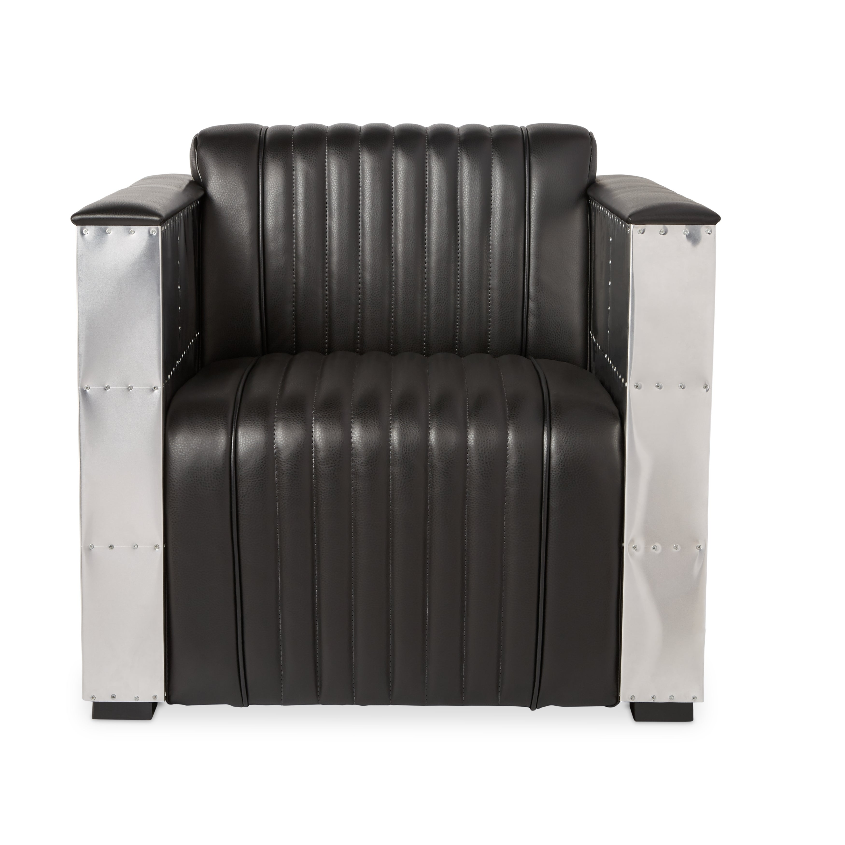 chair black tov leather modern avery furniture products armchair minimal