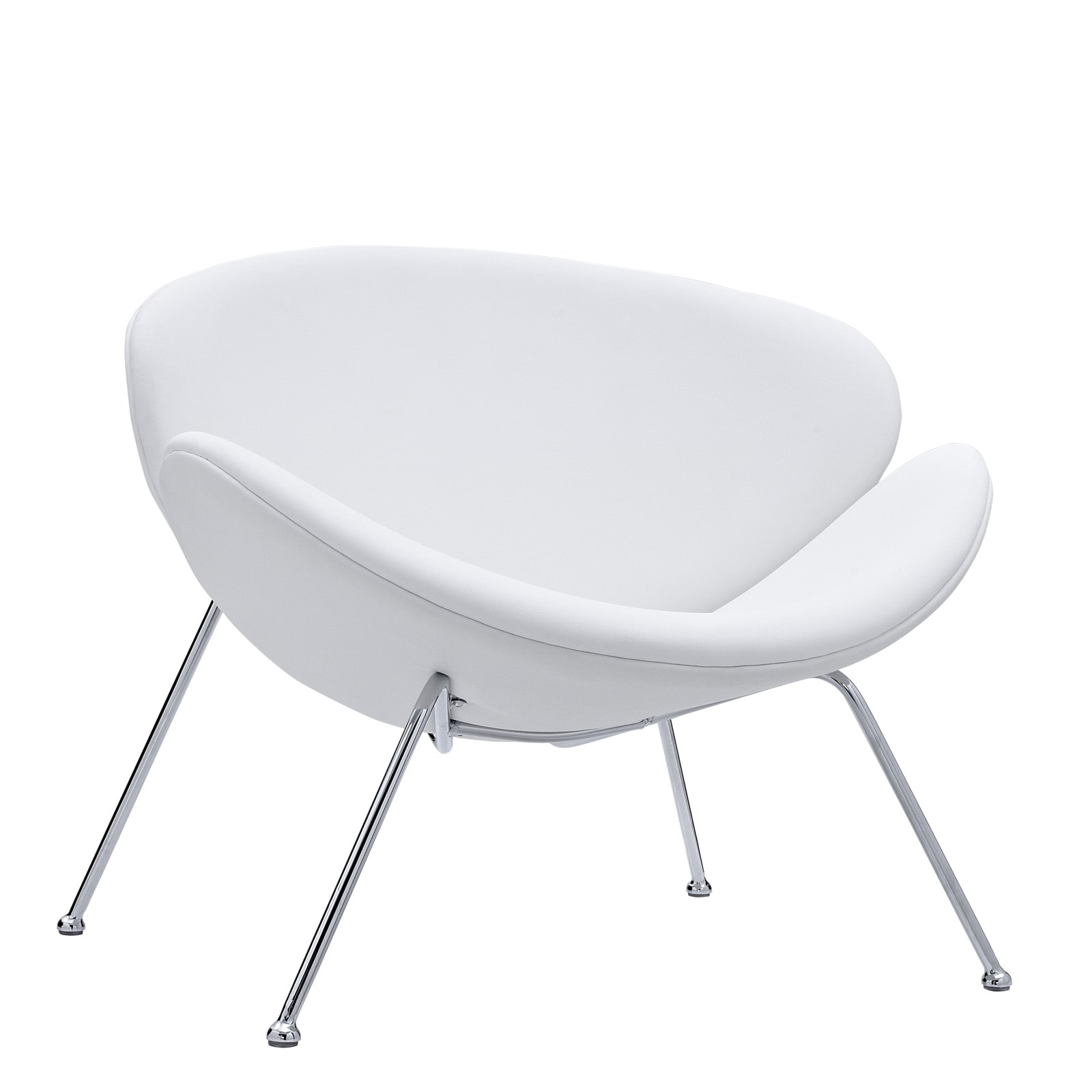 Nutshell White Vinyl Lounge Chair   Free Shipping Today   Overstock    14645942