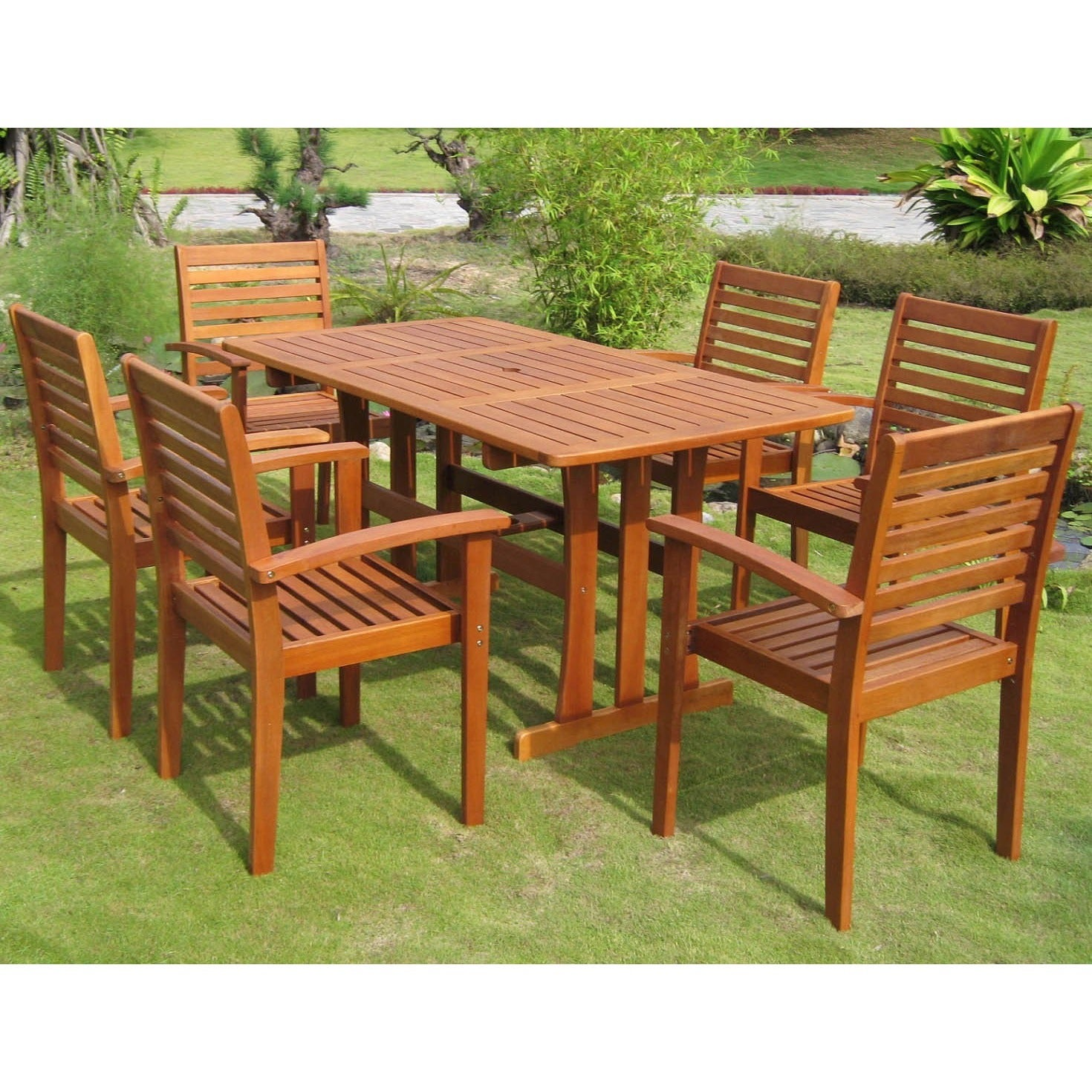 International Caravan Royal Tahiti Badalona 7 Piece Outdoor Dining