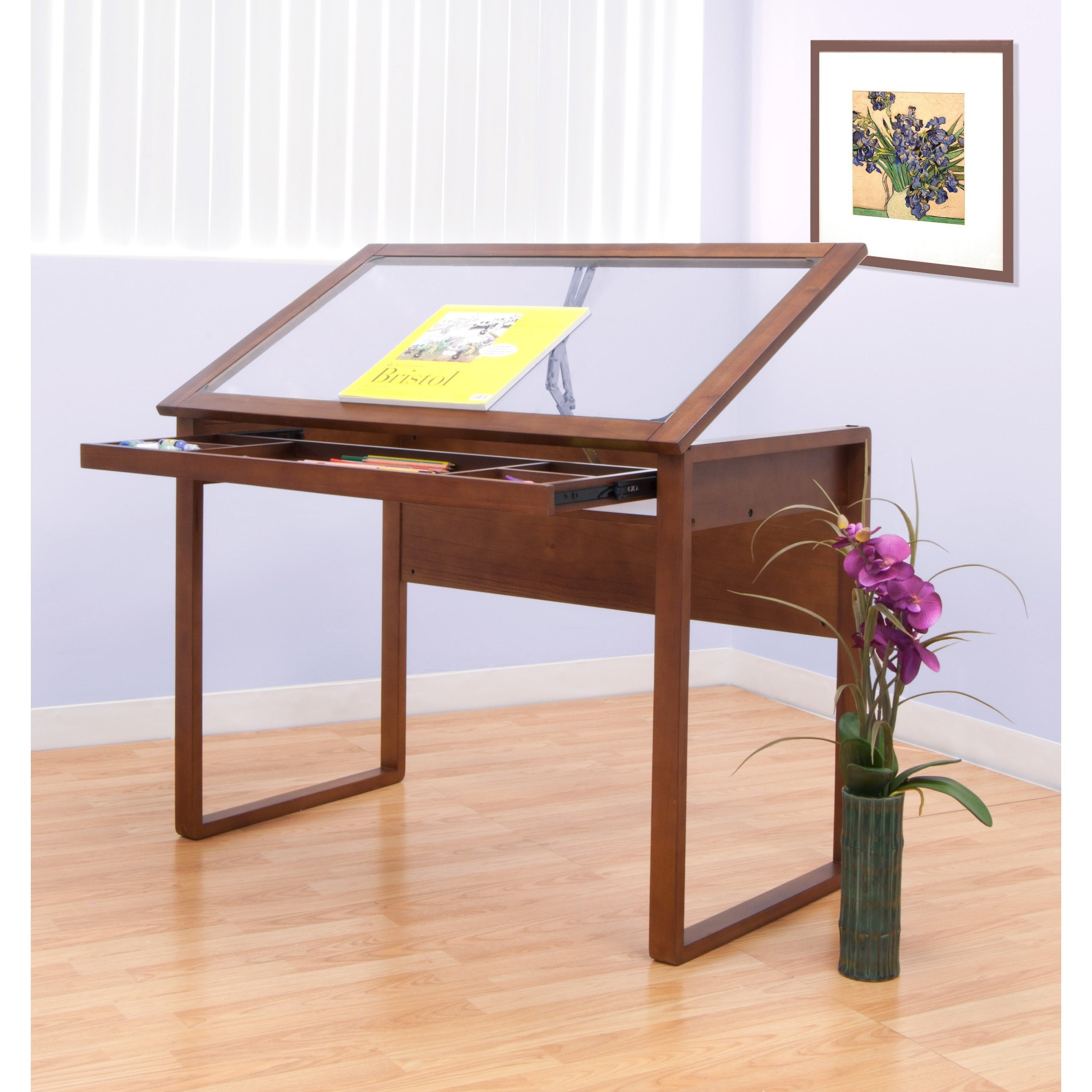 Shop Studio Designs Ponderosa Glass Top Solid Wood Frame Drafting Table    Free Shipping Today   Overstock.com   7179300