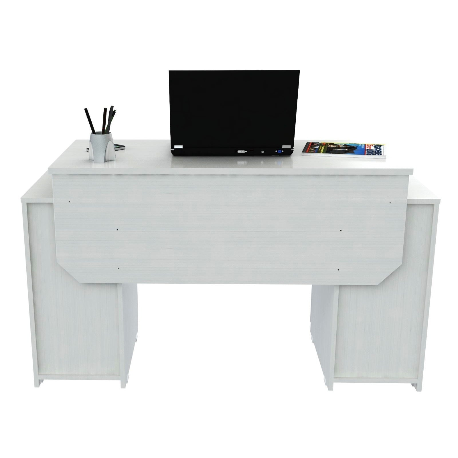 Inval Laricina White Modern Straight Computer Writing Desk With Locking File Drawer Free Shipping Today 7179621
