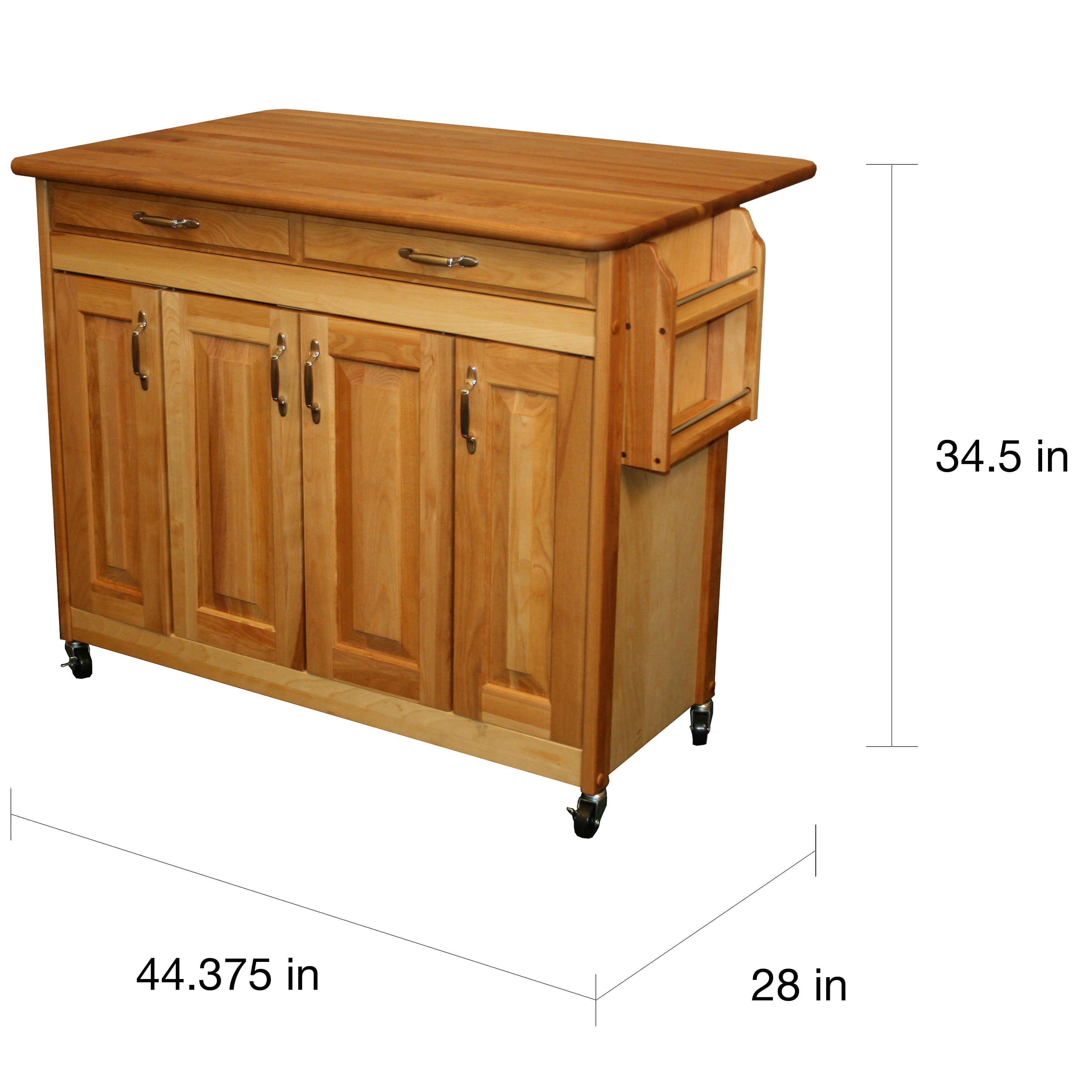 Shop catskill craftsman butcher block drop leaf kitchen island n a free shipping today overstock com 7182875