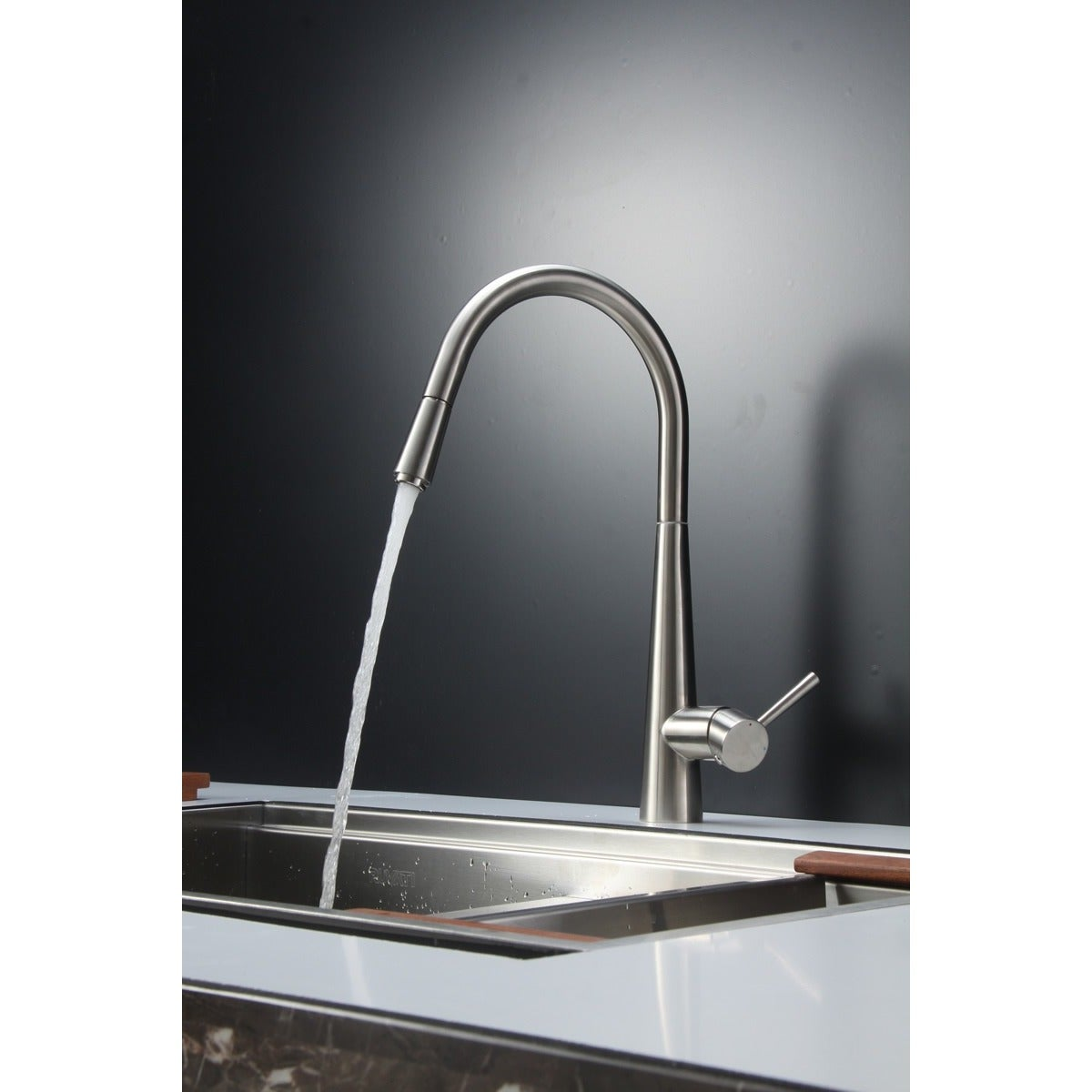 Shop Ruvati Brushed Nickel Pullout Spray Kitchen Faucet Brushed ...