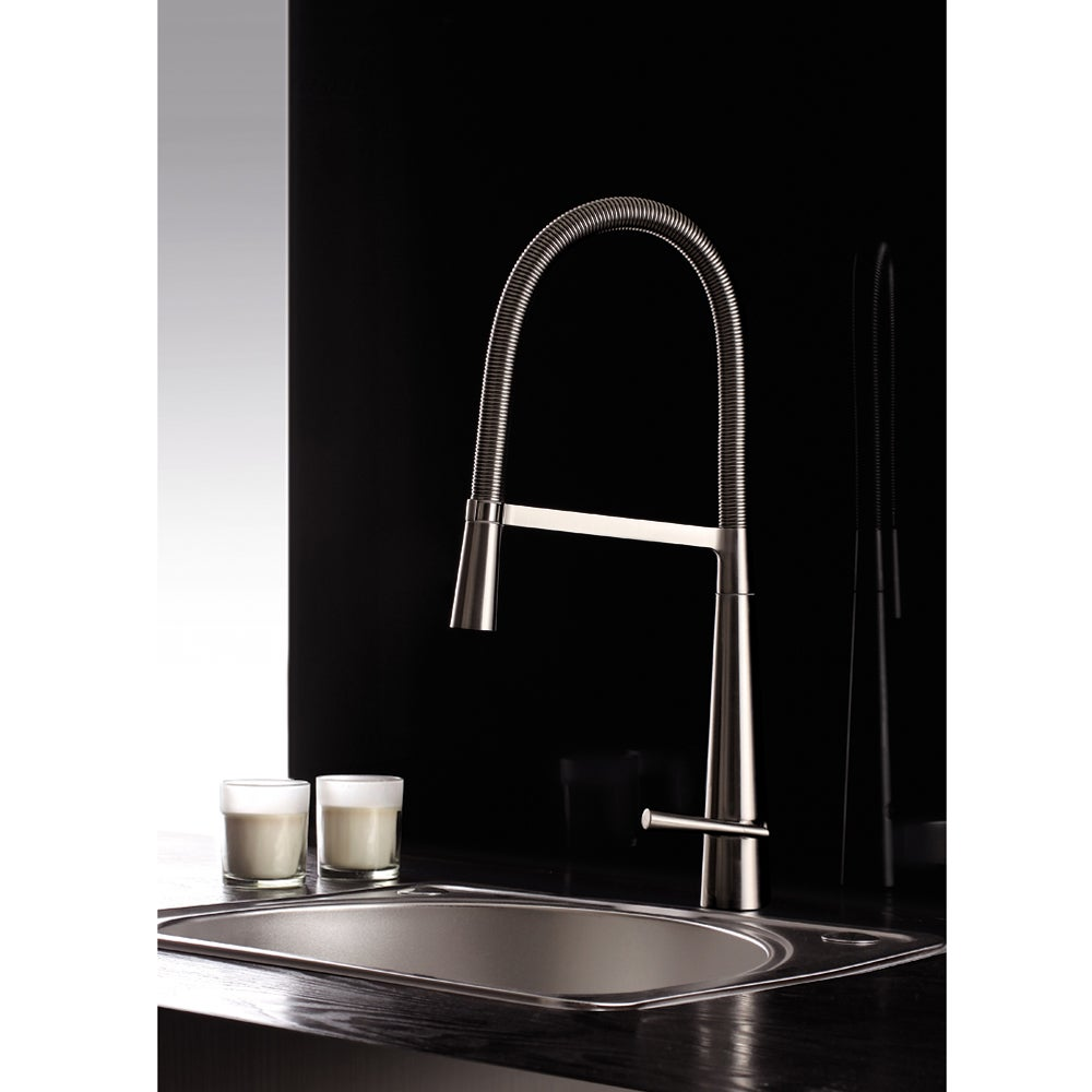 Shop Ruvati Brushed Nickel Pullout Spray Kitchen Faucet - Free ...