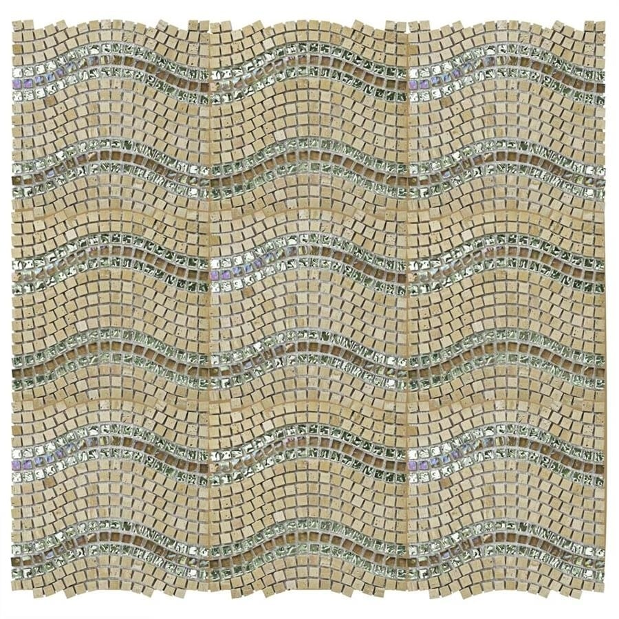SomerTile 11.75x12.25 Reflections Wave Venus Glass, Stone and Metal Mosaic  Tile (Case of 10) - Free Shipping Today - Overstock.com - 14671670