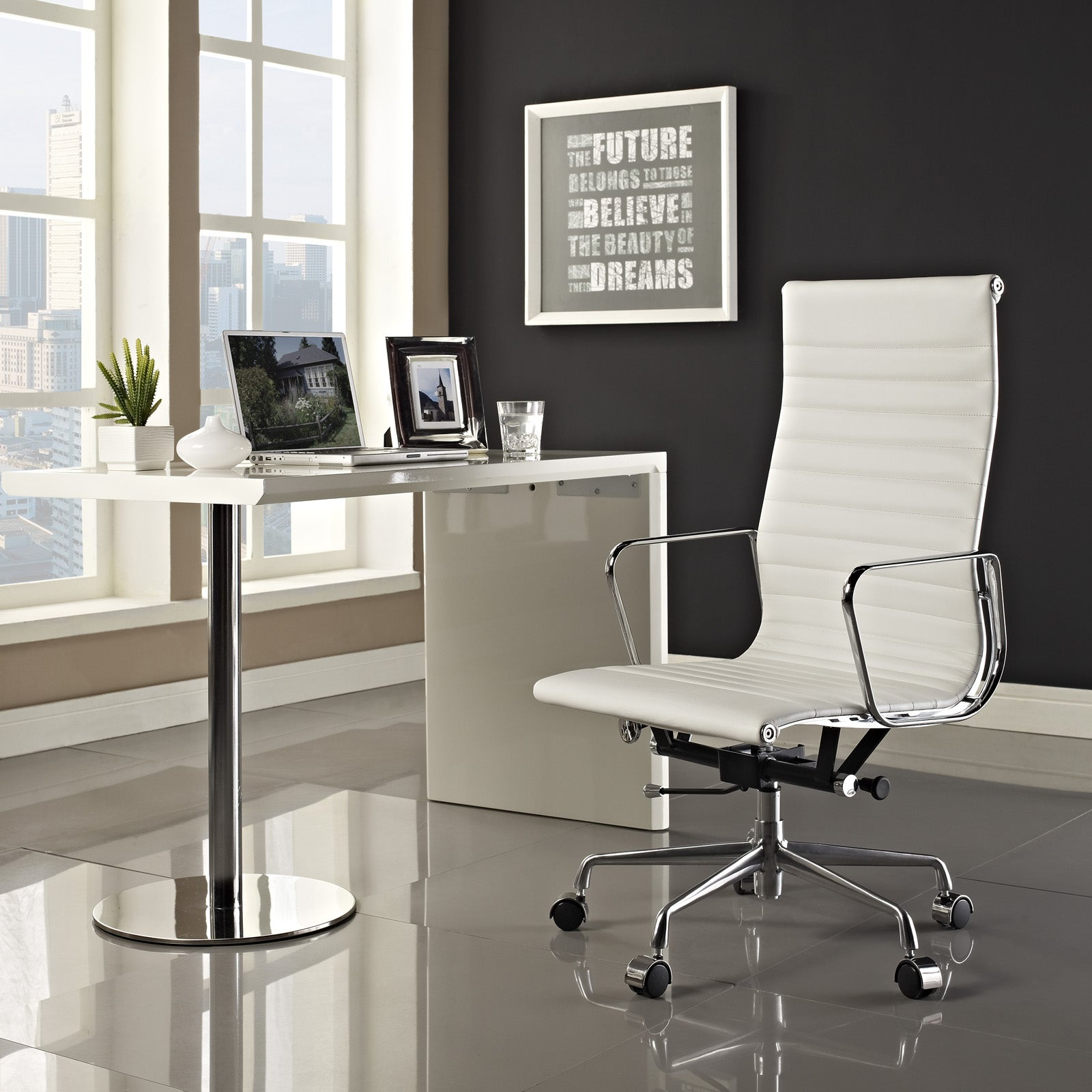 office chair genuine leather white. White Genuine Leather Ribbed High Back Office Chair - Free Shipping Today Overstock 14678543