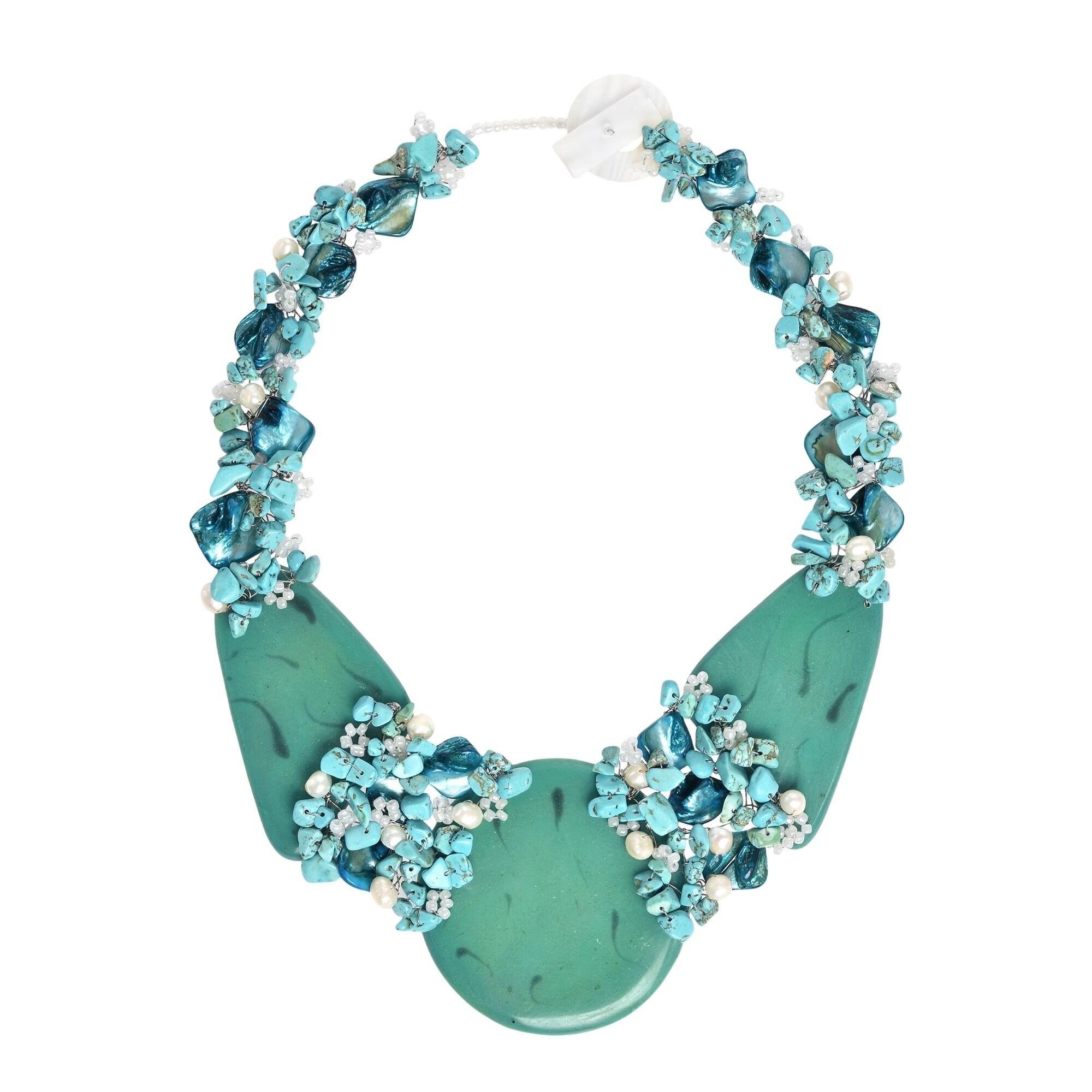 Shop Handmade Mystique Moon Stone Slab Statement Necklace ...