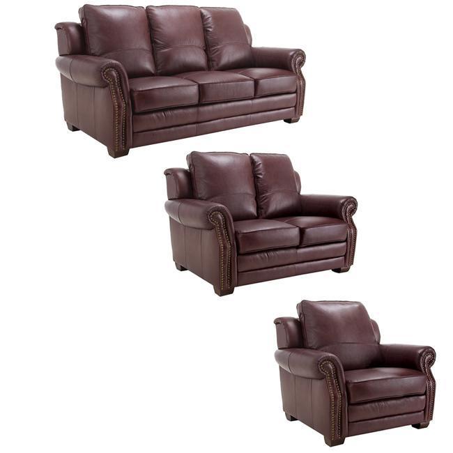 Westport Burgundy Italian Leather Sofa, Loveseat And Chair