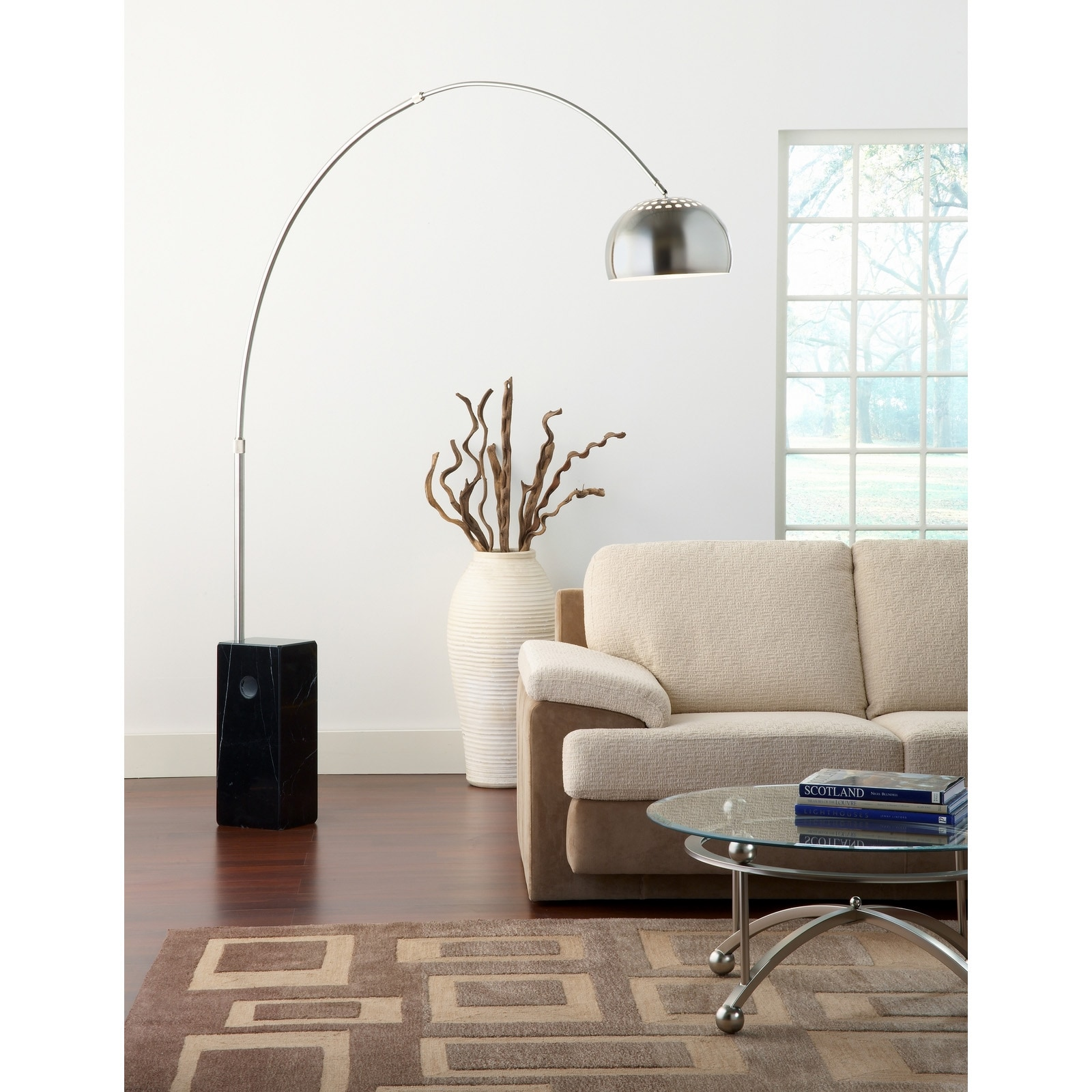 Arco Style Lamp with Black Cube Marble Base - Free Shipping Today ...