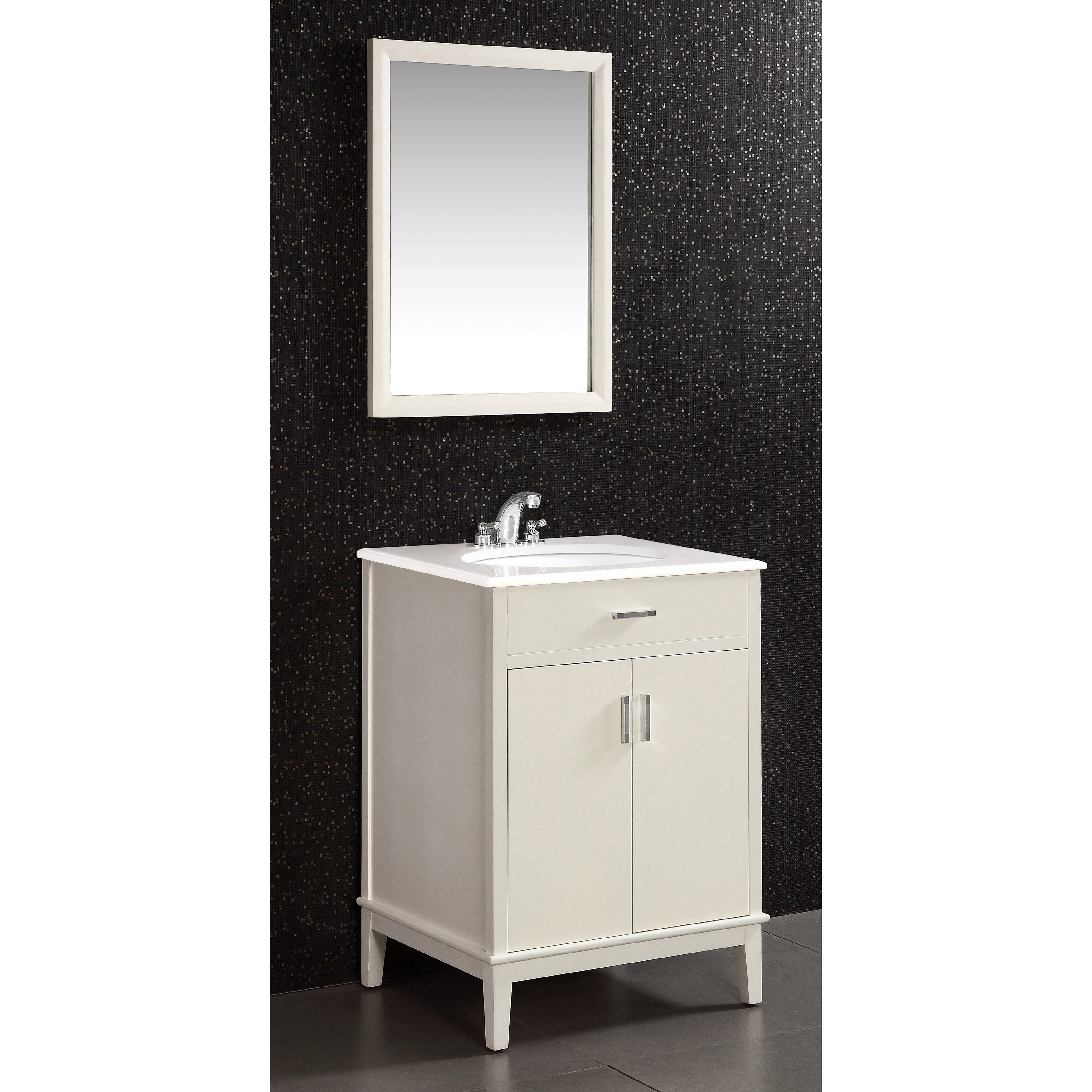 Shop WYNDENHALL Oxford White 2 Door 24 Inch Bath Vanity Set With White  Quartz Marble Top   On Sale   Free Shipping Today   Overstock.com   7211170