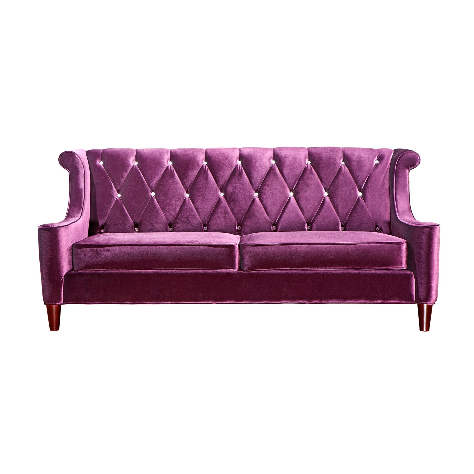 Shop armen living barrister modern purple velvet sofa with crystal buttons free shipping today overstock com 7211443