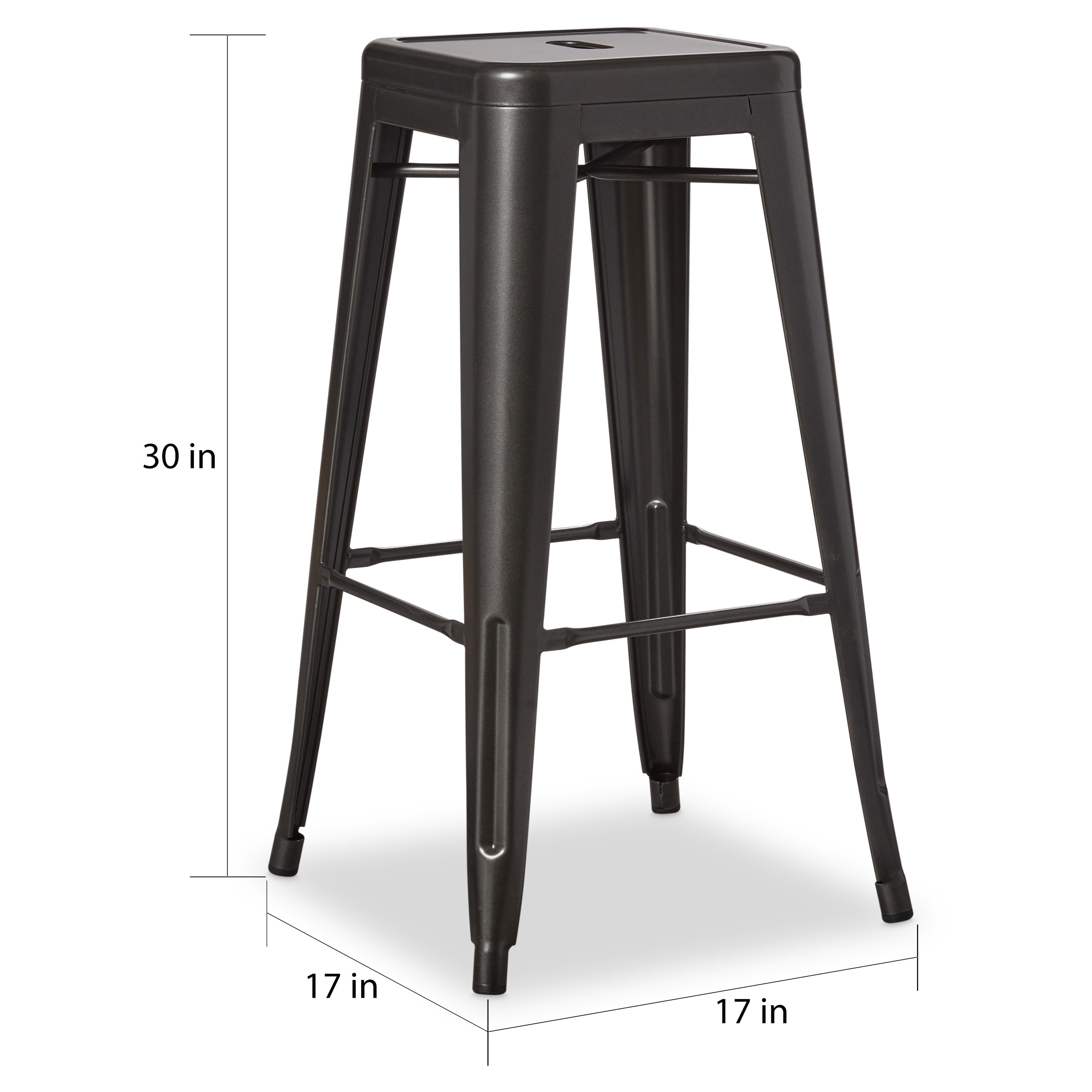 Shop tabouret 30 inch charcoal grey metal bar stools set of 2 free shipping today overstock com 7213084