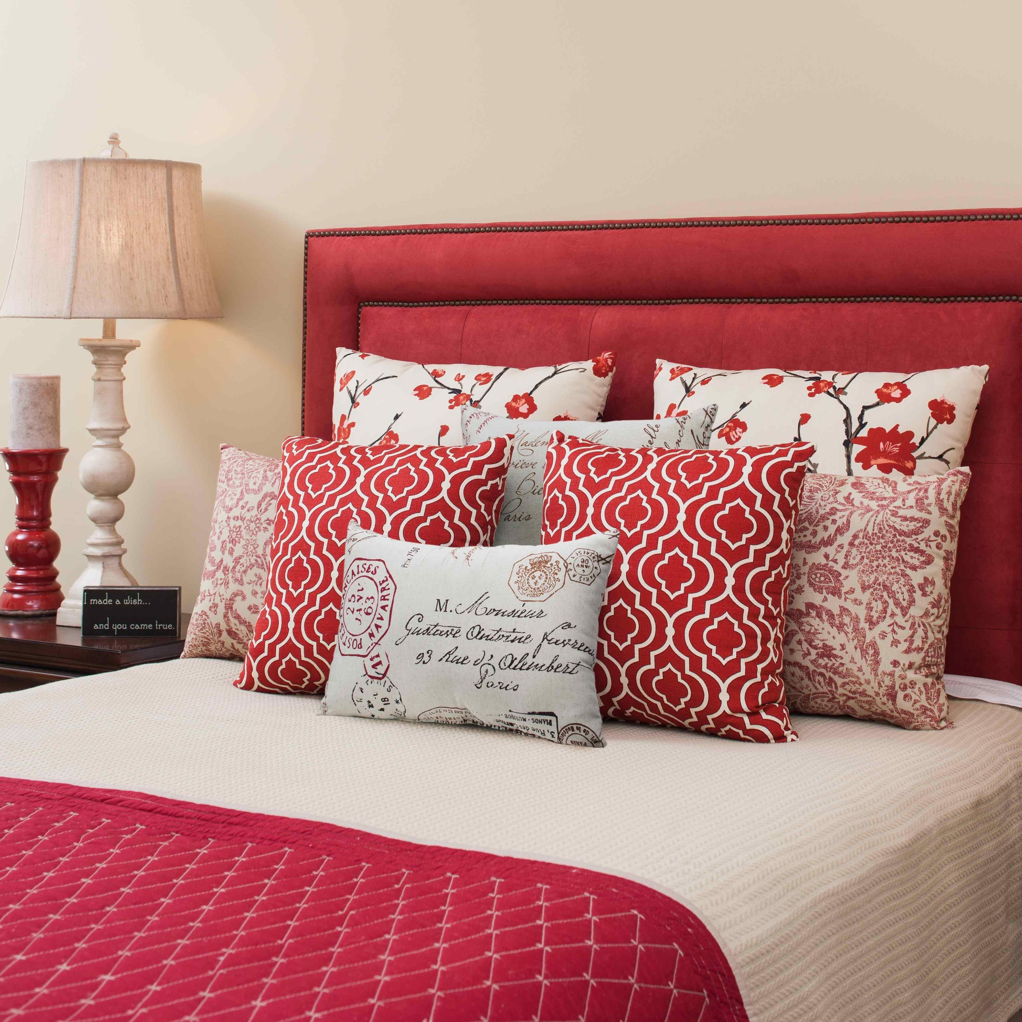 Pillow Perfect French Postale Rectangular Throw Pillow Free  ~ Red Throw Pillows For Sofa