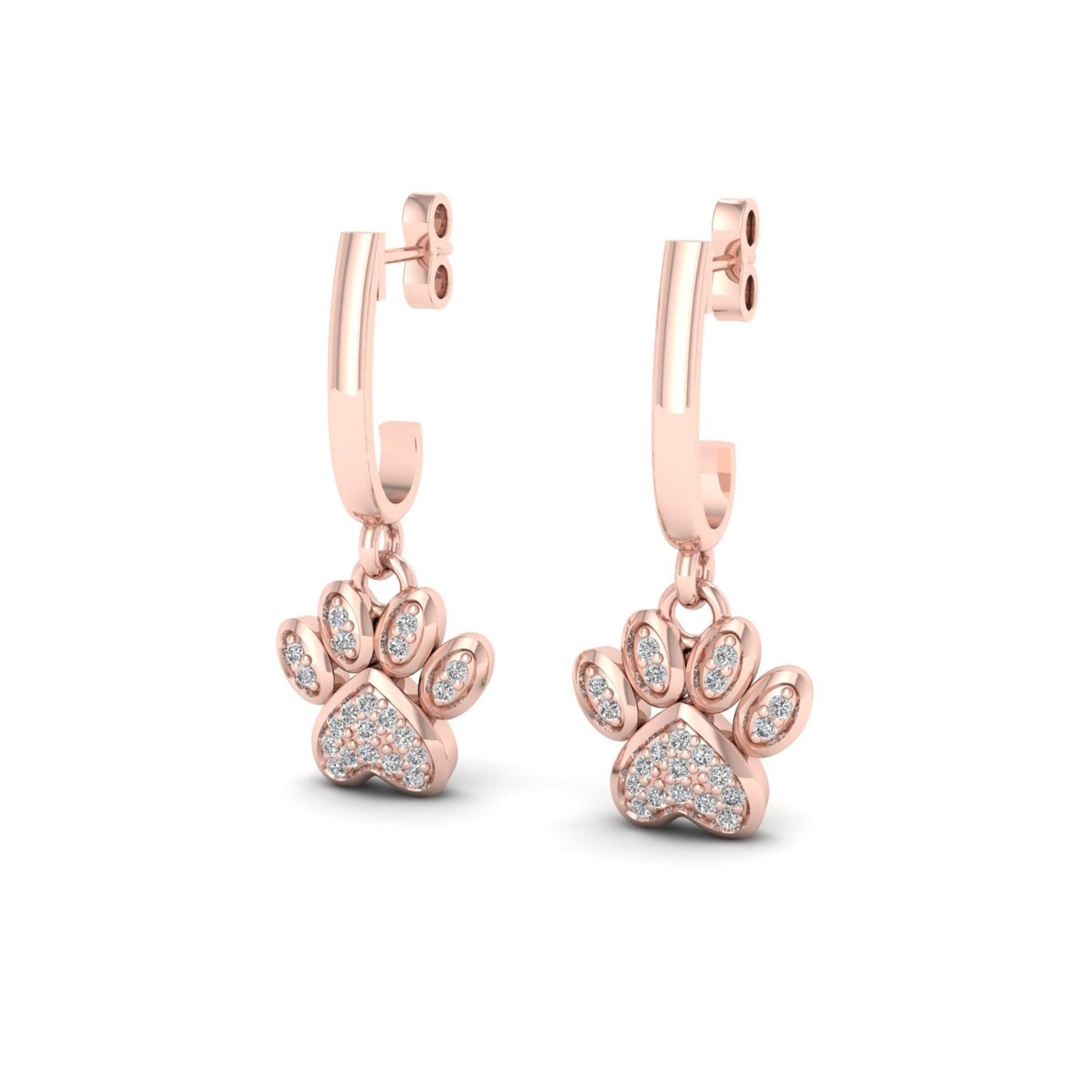 De Couer Igi Certified 10k Gold 1 10ct Tdw Diamond Paw Print Earrings Free Shipping Today 7252532