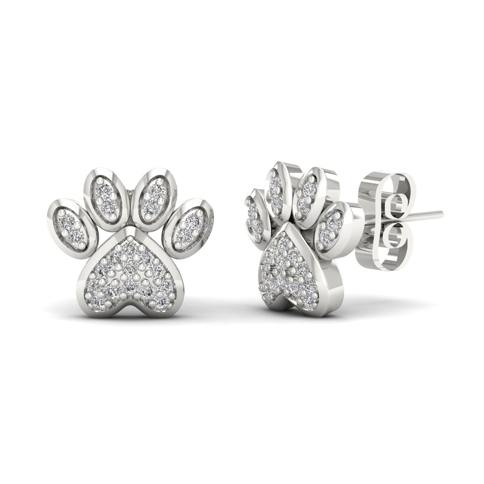 De Couer 10k White Gold 1 10ct Tdw Diamond Dog Paw Print Earrings H I Free Shipping Today 14731909
