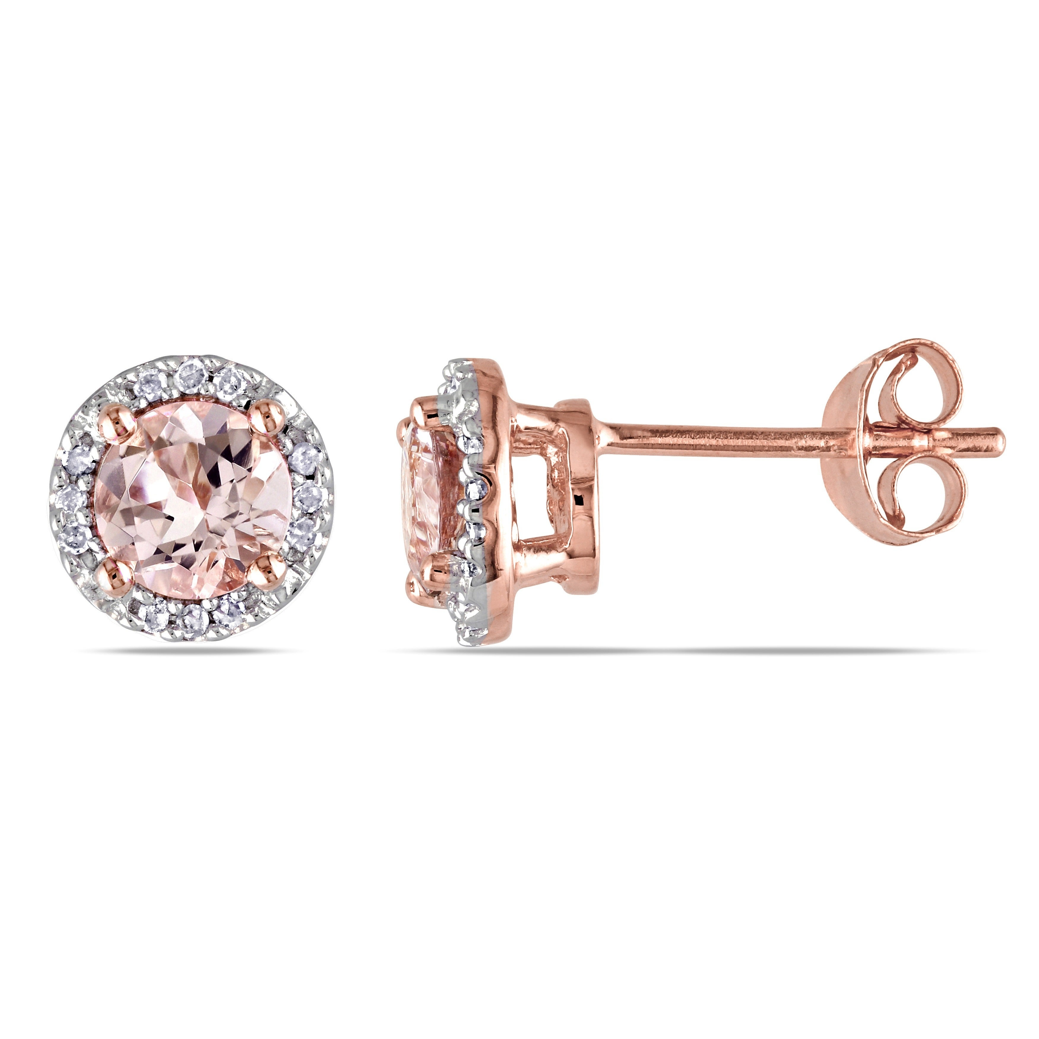 Miadora Rose Goldplated Sterling Silver Morganite And Diamond Accent Halo Stud Earrings Free Shipping Today 14734754