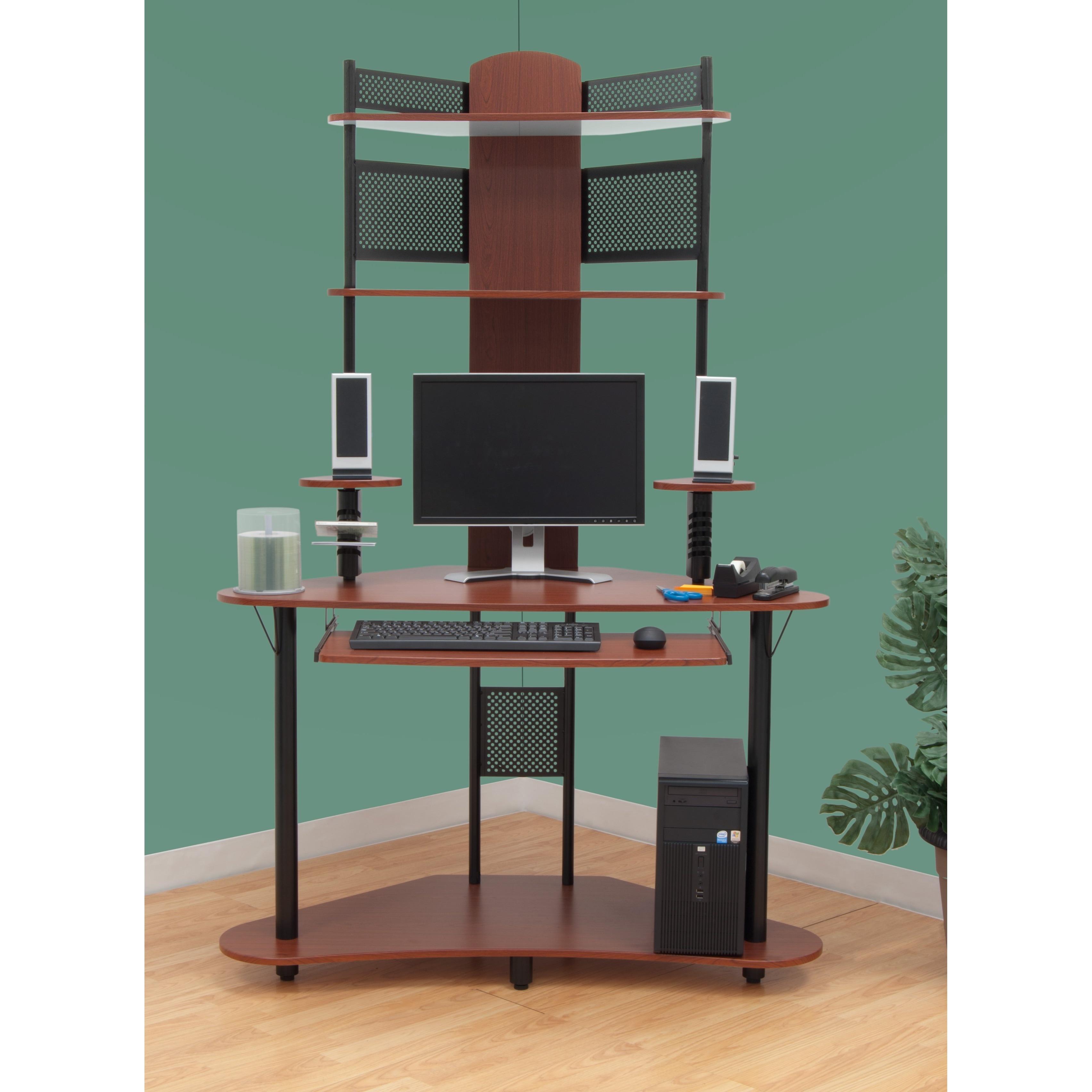 Calico Designs Arch Corner Computer Desk with Hutch / Tower