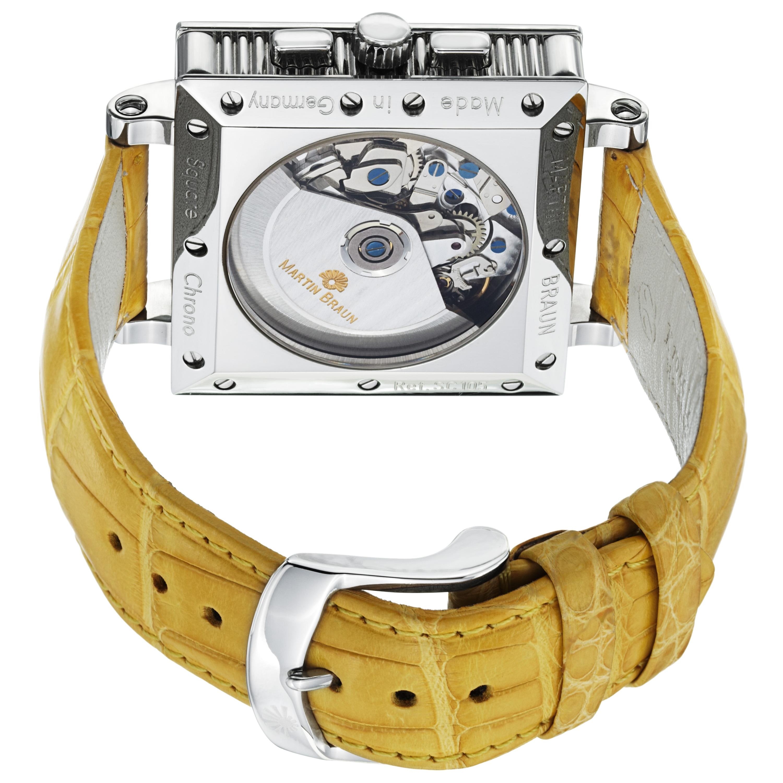 379c2e133 Shop Martin Braun Men's 'Square Chrono' Silver Dial Yellow Strap Watch -  Free Shipping Today - Overstock - 7263014