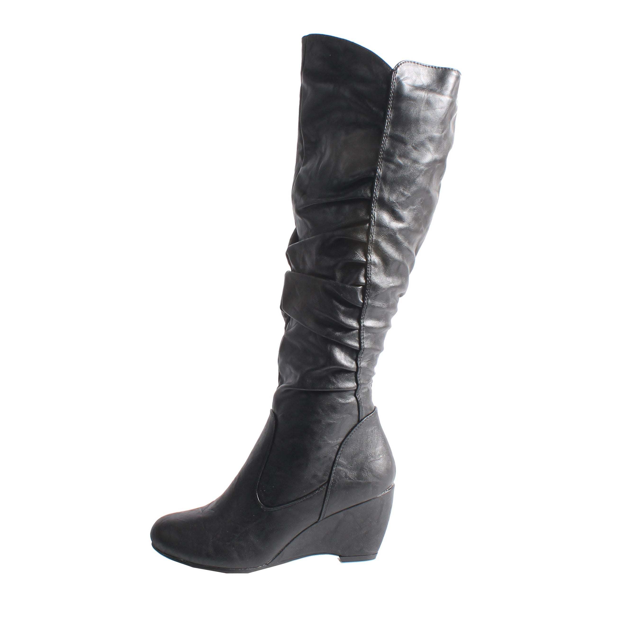 35759fda62f Shop Blossom by Beston Women s  Della-8  Knee-High Black Wedge Boots - Free  Shipping On Orders Over  45 - Overstock - 7278390