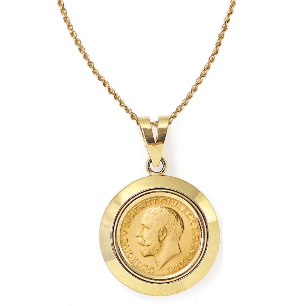 American coin treasures 14k gold king george v gold sovereign coin american coin treasures 14k gold king george v gold sovereign coin dome bezel pendant necklace free shipping today overstock 14754701 aloadofball Images