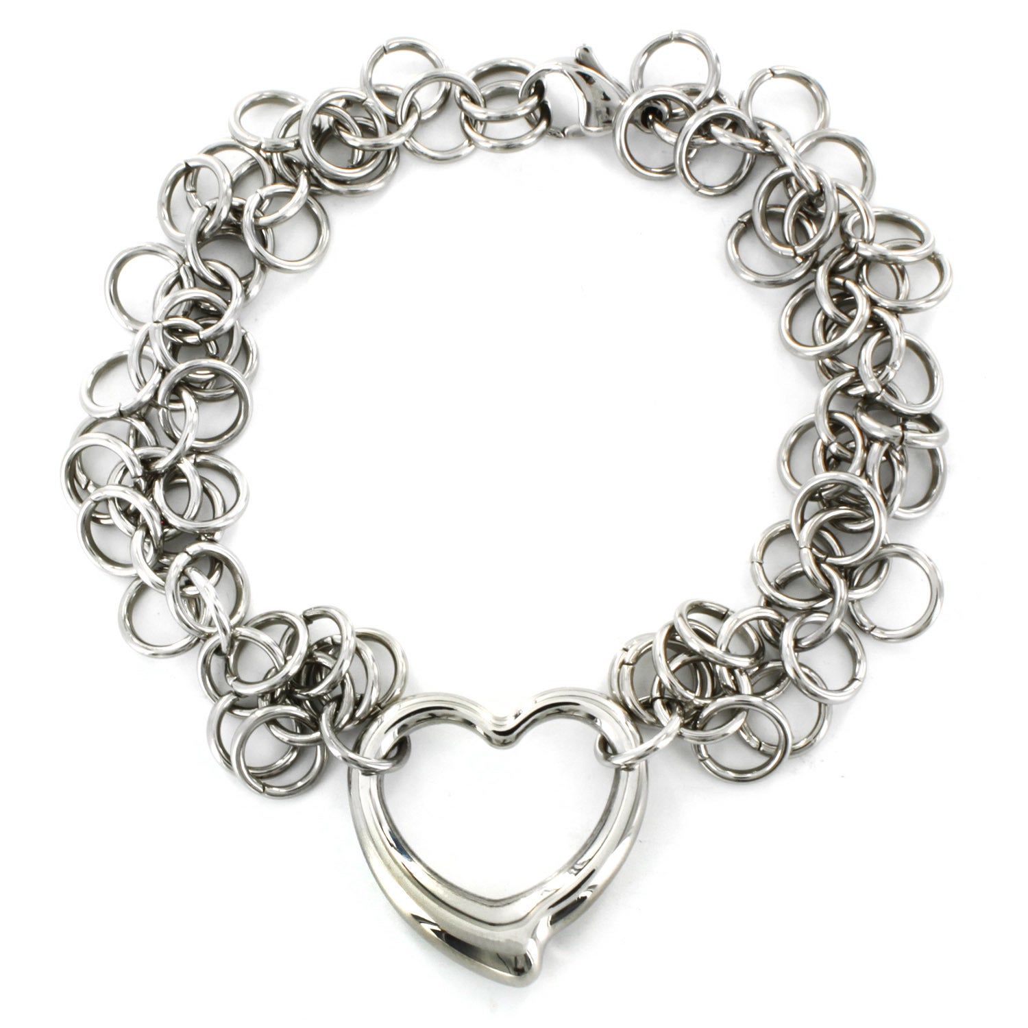 Sensible Fashion Women Lady Silver Plated Crystal Bangle Love Heart Charm Bracelet Gl Available In Various Designs And Specifications For Your Selection Bracelets Jewelry & Watches
