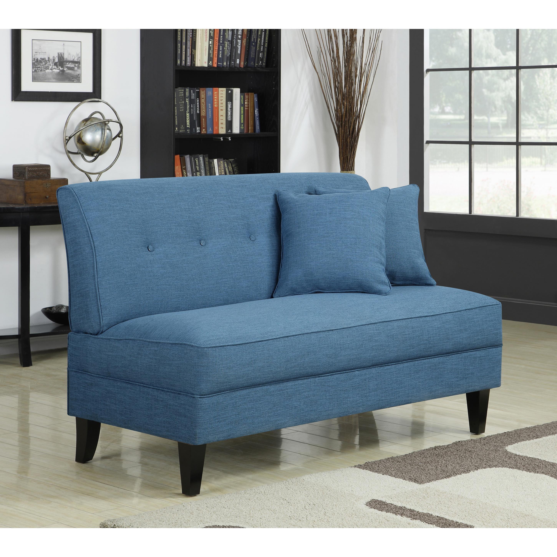 handy living engle caribbean blue linen armless loveseat  free shippingtoday  overstockcom  . handy living engle caribbean blue linen armless loveseat  free