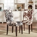Porch & Den Shadyside Aiken Cow Hide Parson Dining Chairs (Set of 2)