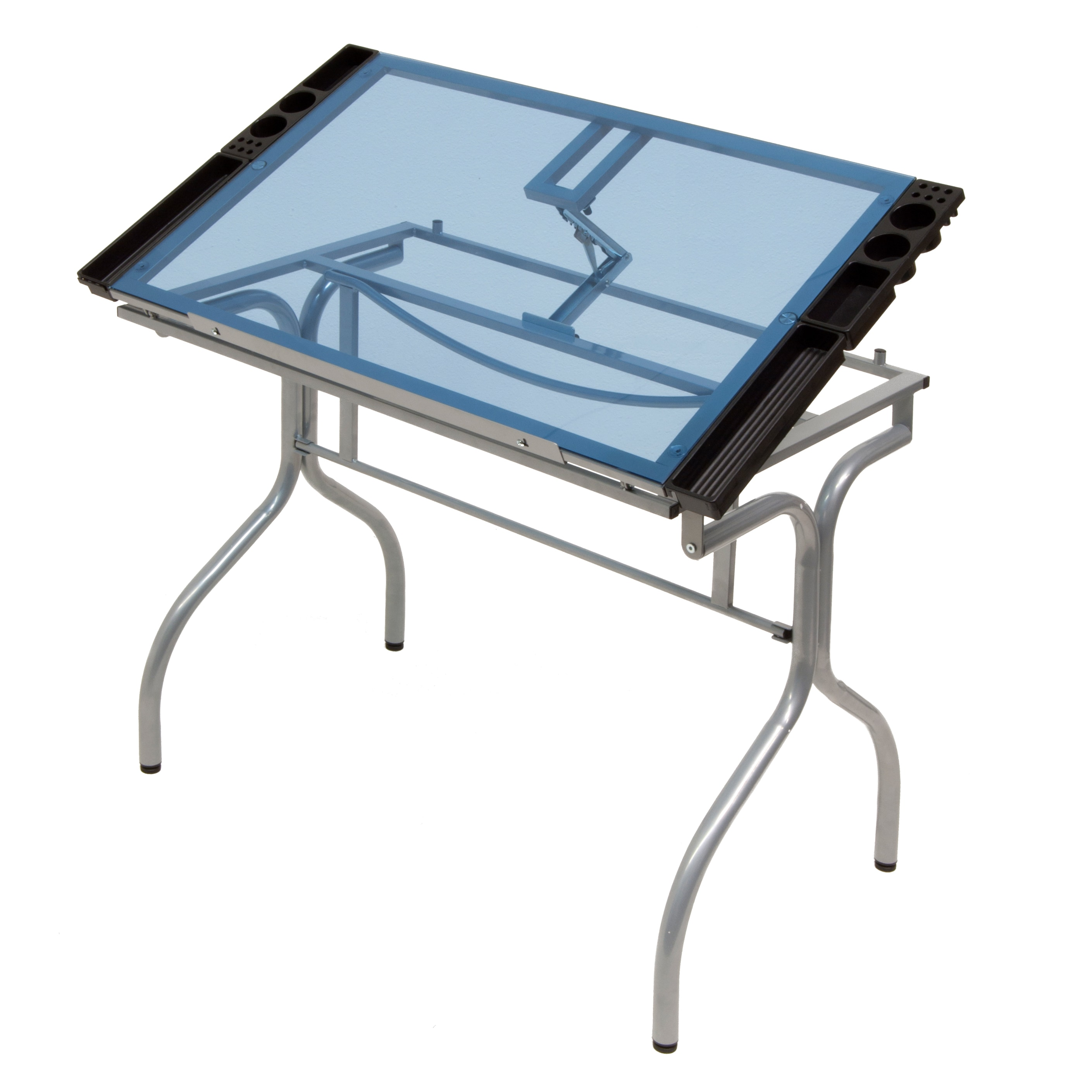 Shop Studio Designs Silver/Blue Glass Top Folding Drafting Table   Free  Shipping Today   Overstock.com   7299071