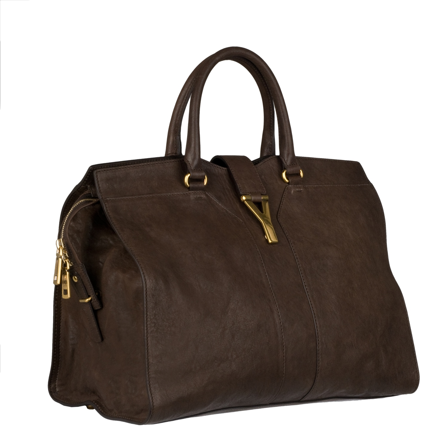 Shop Yves Saint Laurent  Cabas Chyc  Large Brown Leather Tote Bag - Ships  To Canada - Overstock.ca - 7307723 5b9ac2d443fa8
