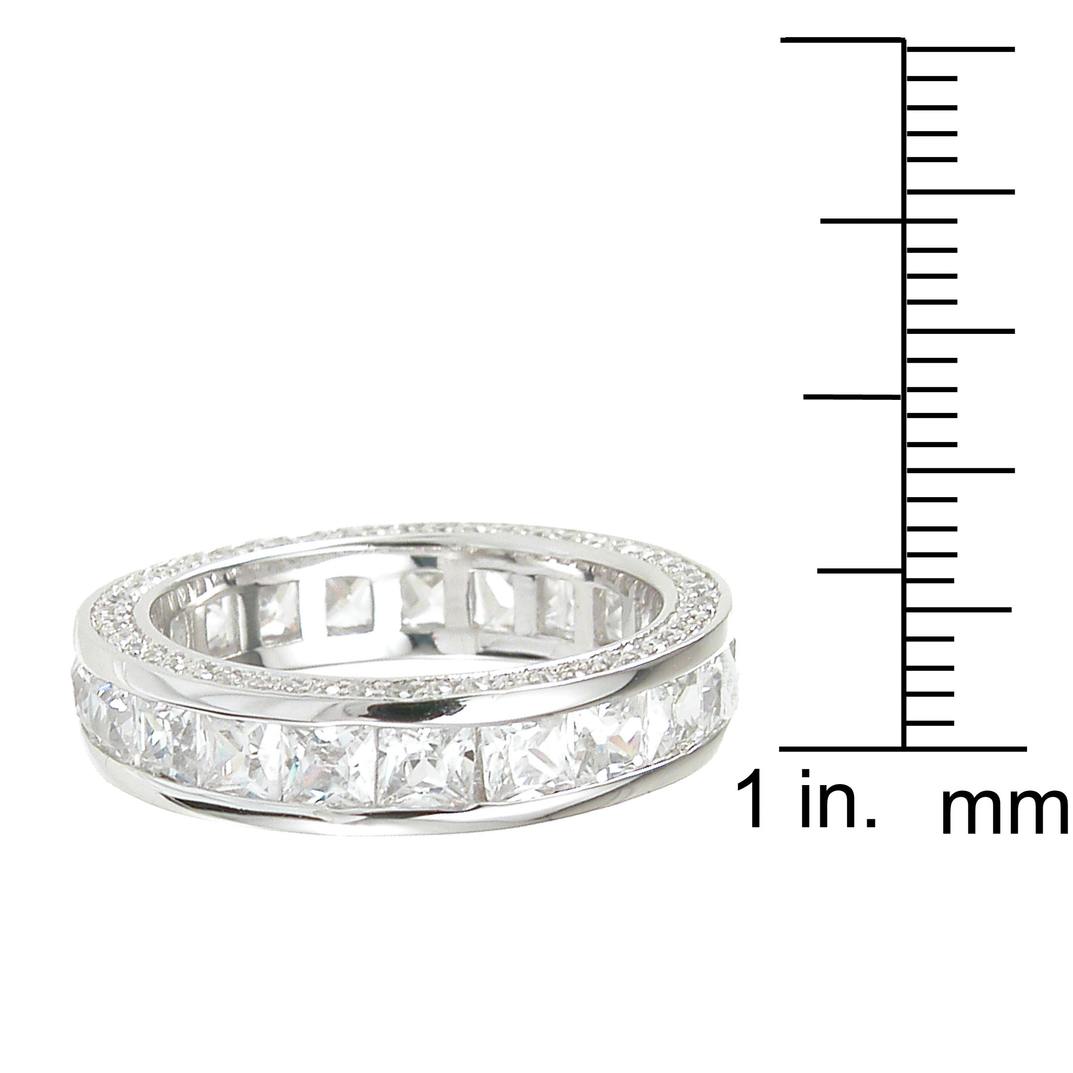 cubic ring size and baguette zirconia eternity band full white round gold bands