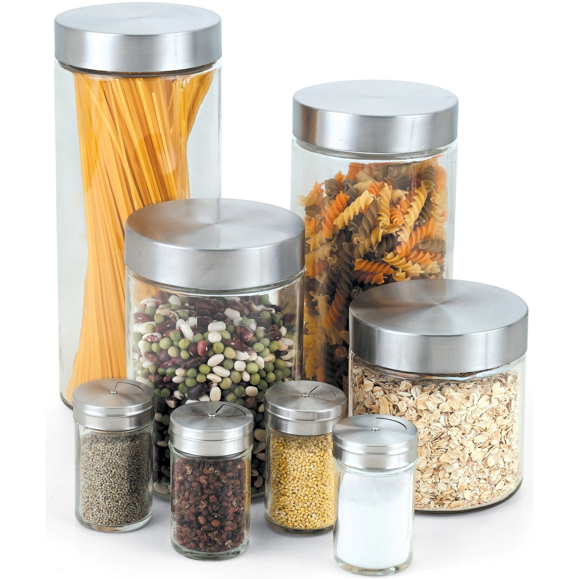 Shop Cook N Home 8 Piece Glass Canister And Spice Jar Set With Lids    Clear/Silver   On Sale   Free Shipping On Orders Over $45   Overstock.com    7310354