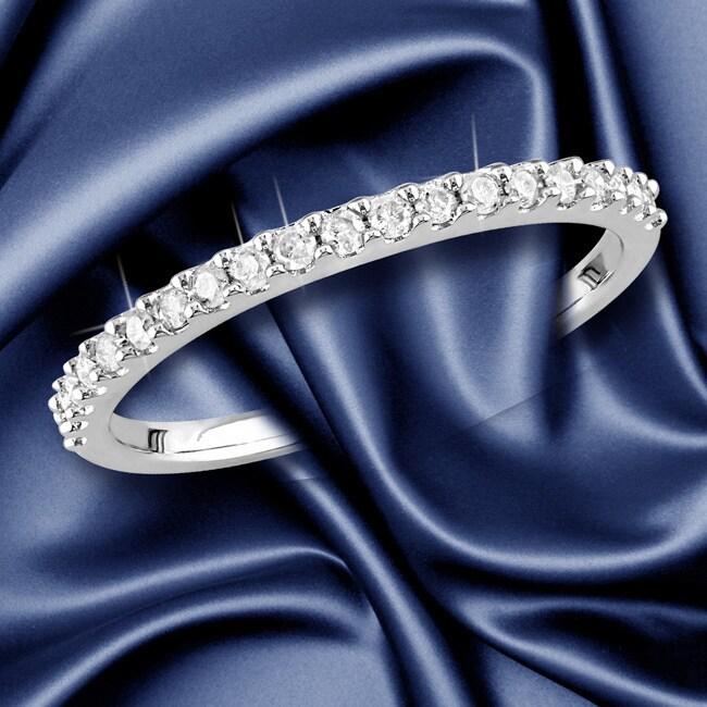 Miadora 10k White Gold 15ct TDW Diamond Stackable Wedding Band
