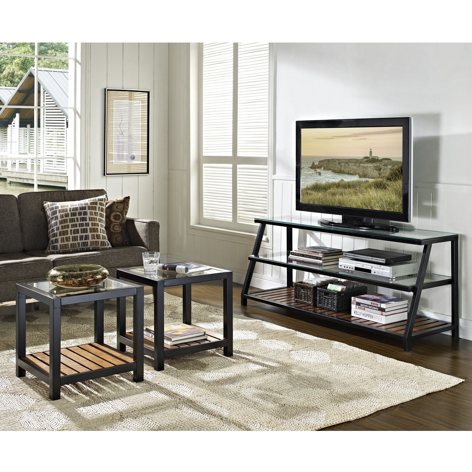 Shop 60 Inch Glass Metal Wood Tv Stand Coffee Tables Combo Free