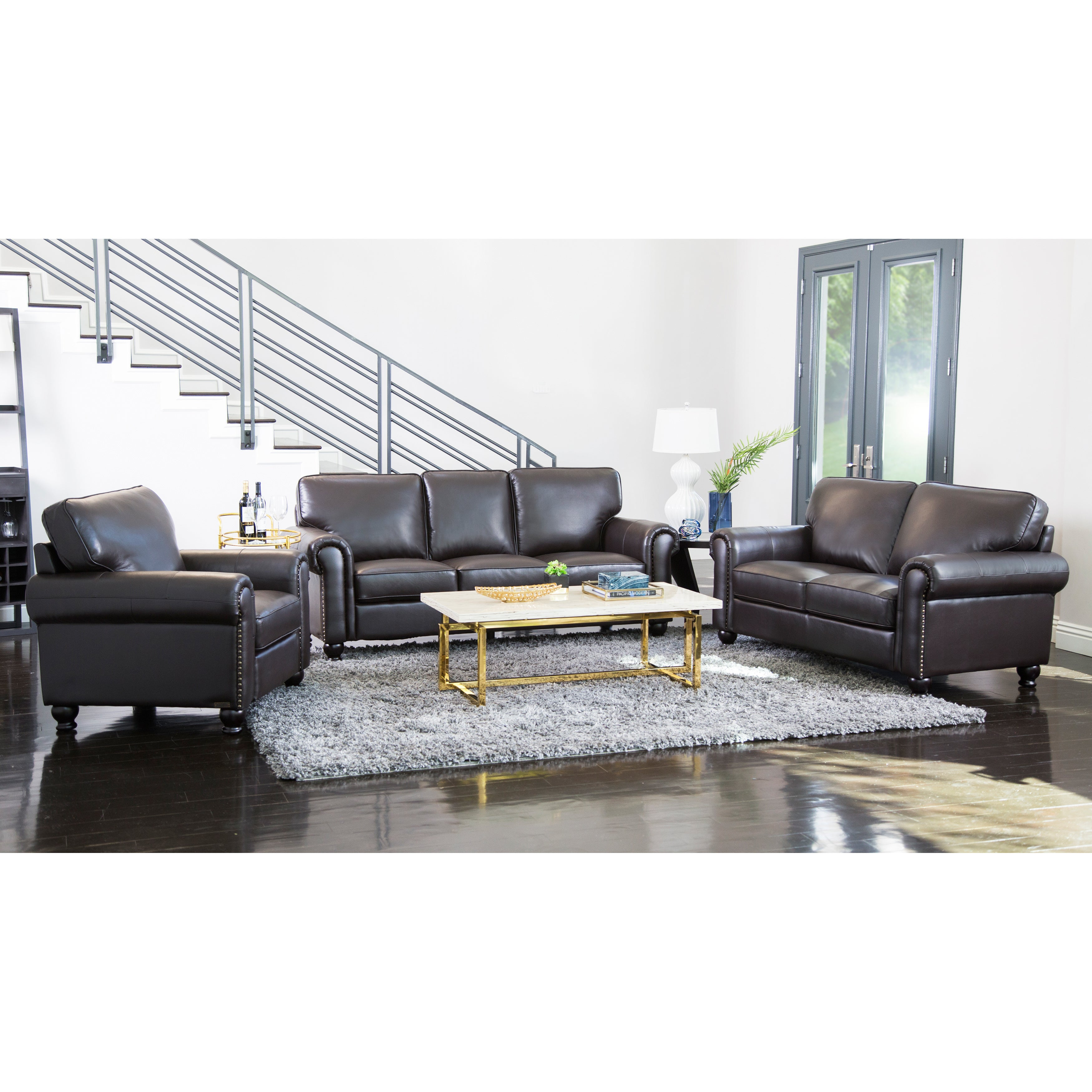 Abbyson London Top Grain Leather Living Room Sofa Set   Free Shipping Today    Overstock   14785428