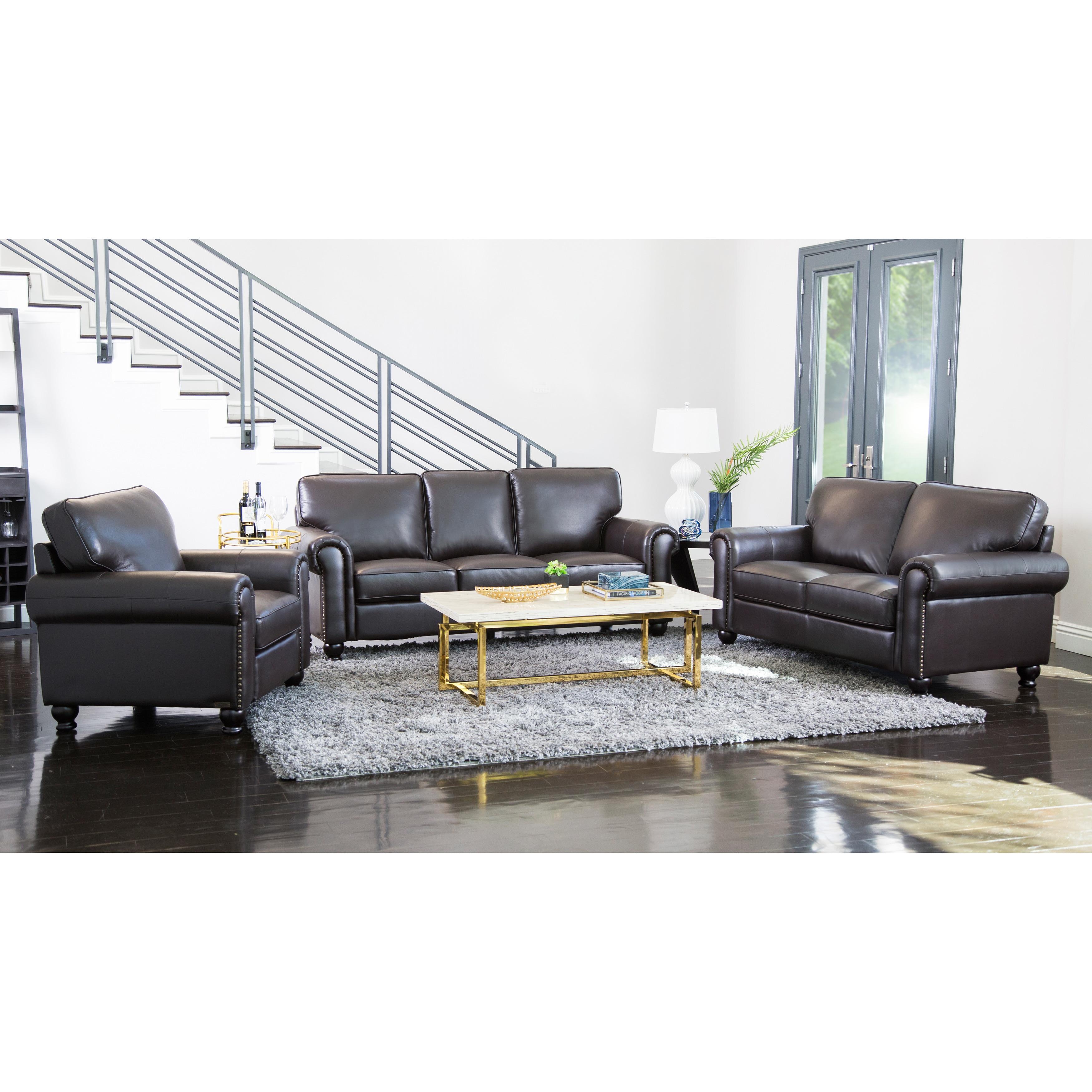 Abbyson London Top-grain Leather Living Room Sofa Set - Free ...