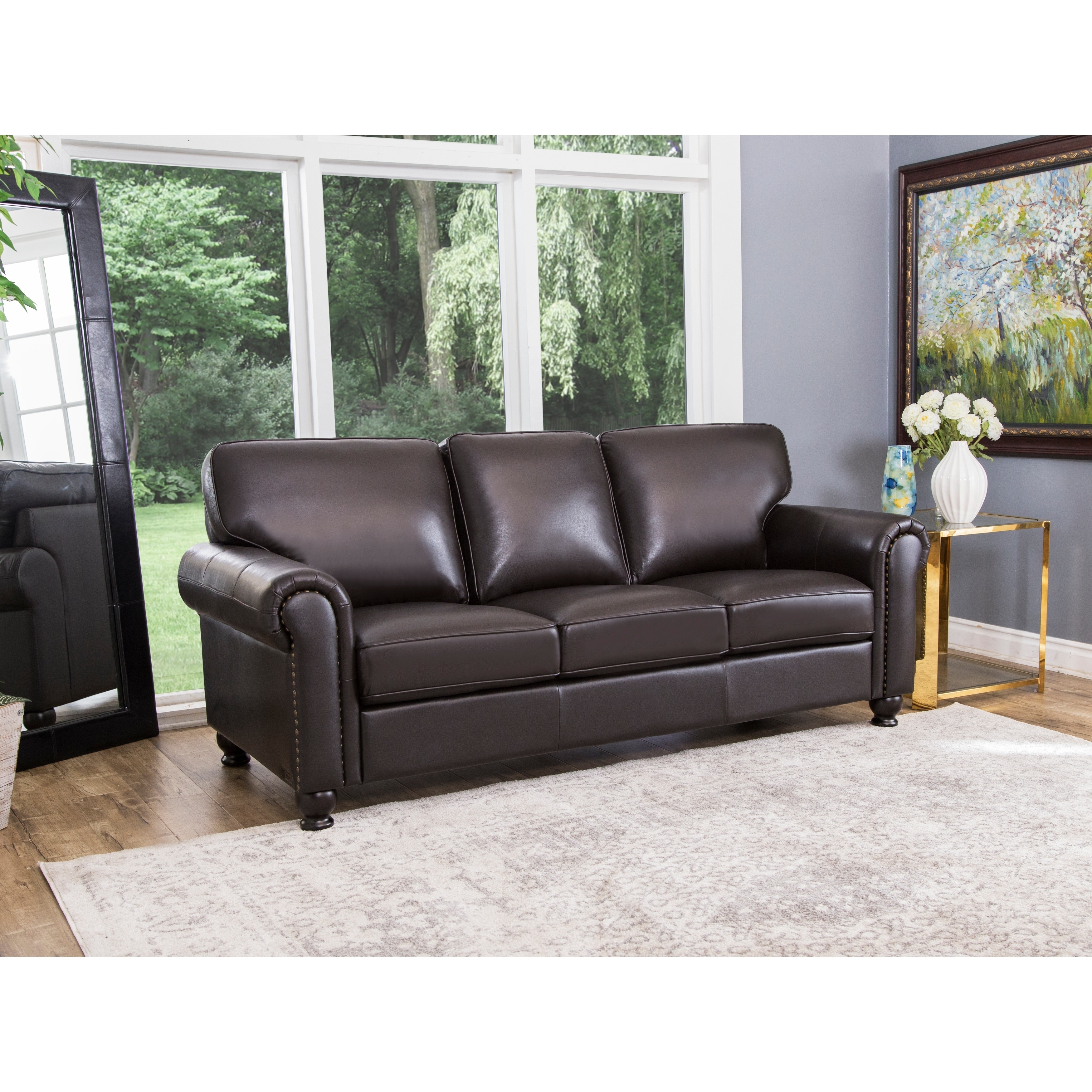 Shop Abbyson London Top Grain Leather Living Room Sofa Set   On Sale   Free  Shipping Today   Overstock.com   7316050