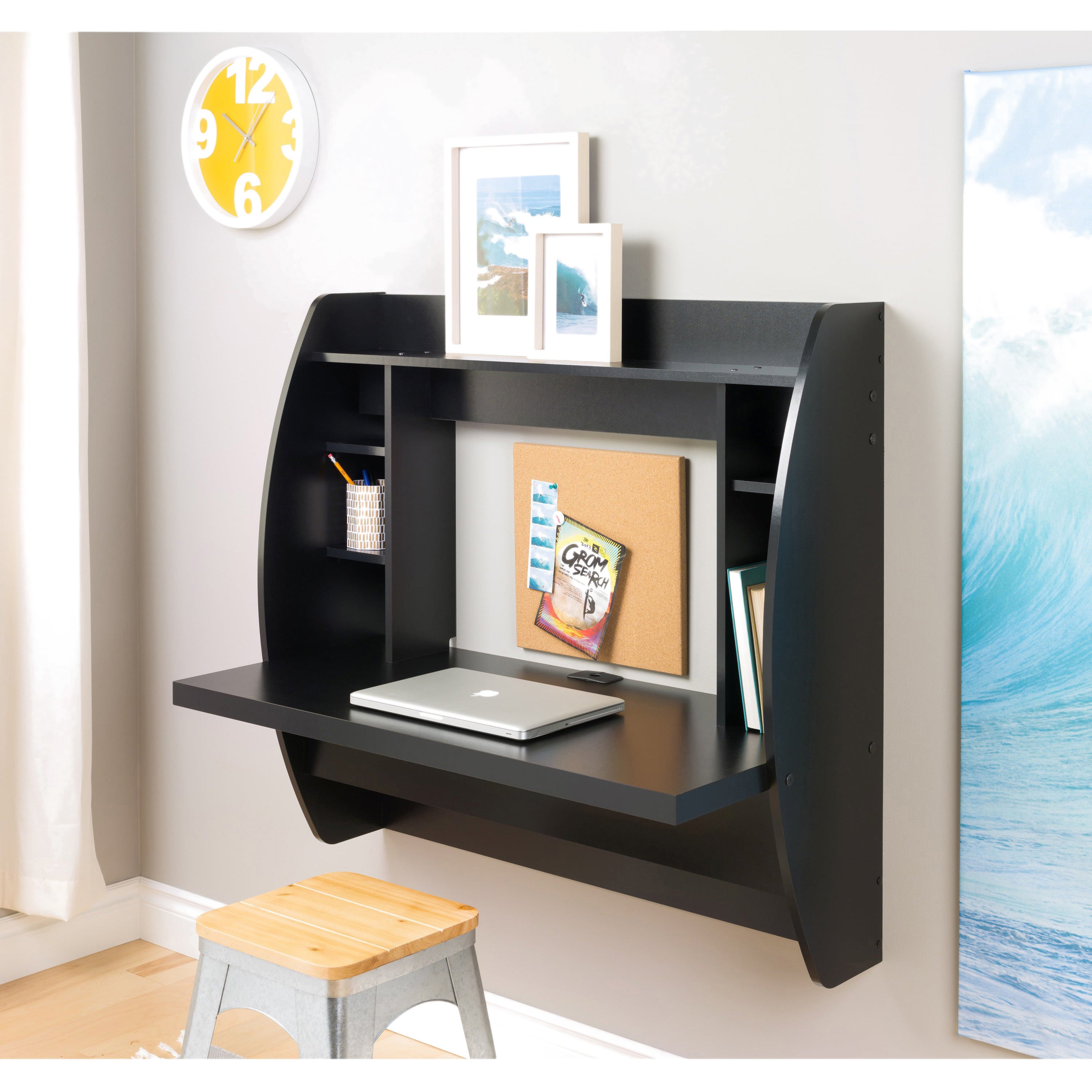 products mount floating desk storage best work computer shelves white wall choice with station sh home