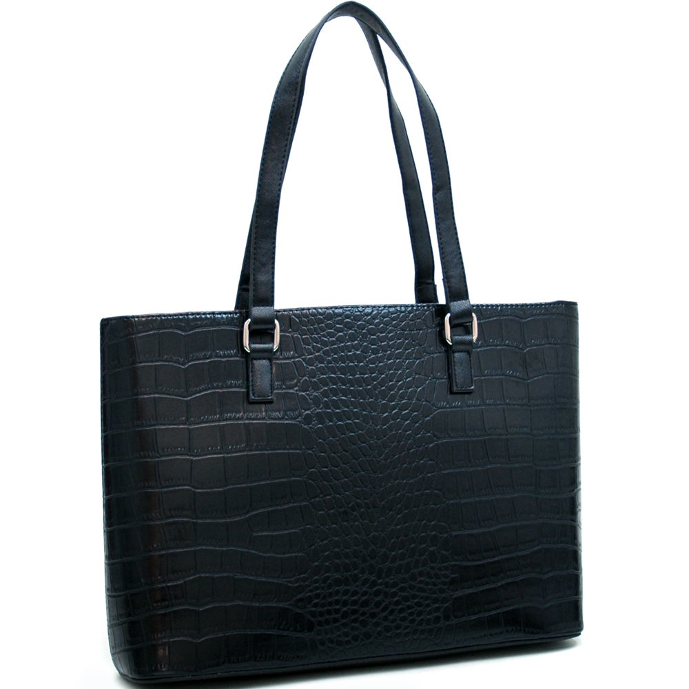 2c6c804fb201 Shop Dasein Croco Embossed Chic Tote Bag - On Sale - Free Shipping Today -  Overstock - 7321994