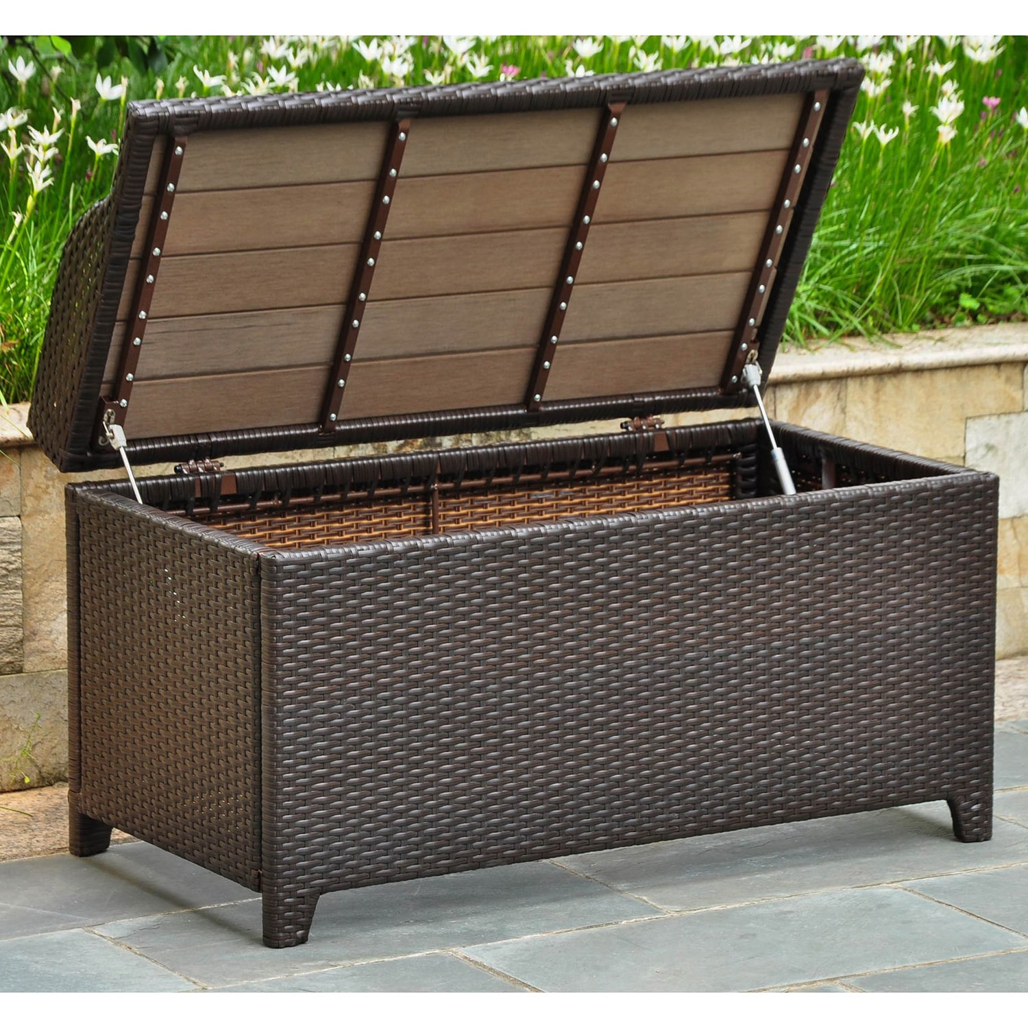 International Caravan Barcelona Resin Wicker Aluminum Outdoor Storage Bench Free Shipping Today 14790392