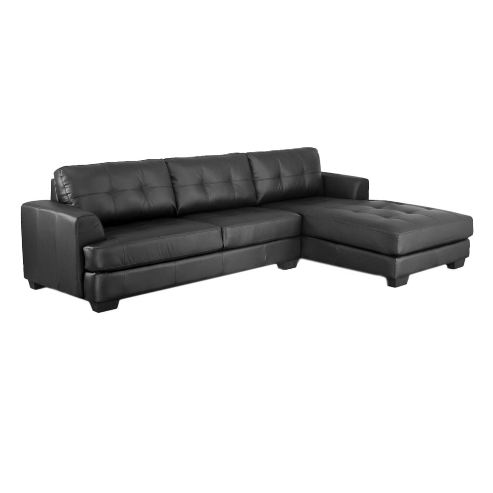 Shop dobson black leather modern sectional sofa free shipping today overstock com 7327165