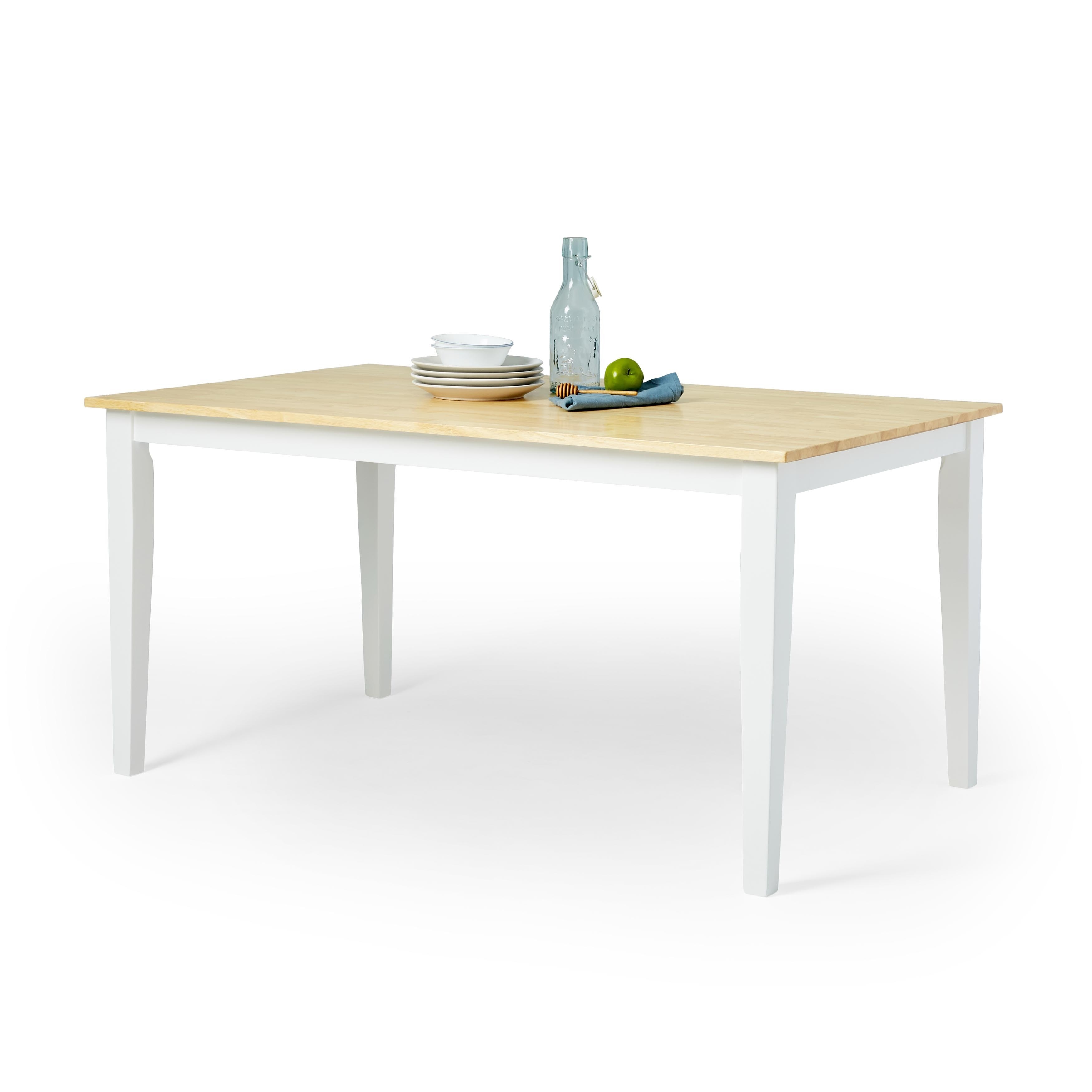 Simple Living Shaker Dining Table in White and Natural