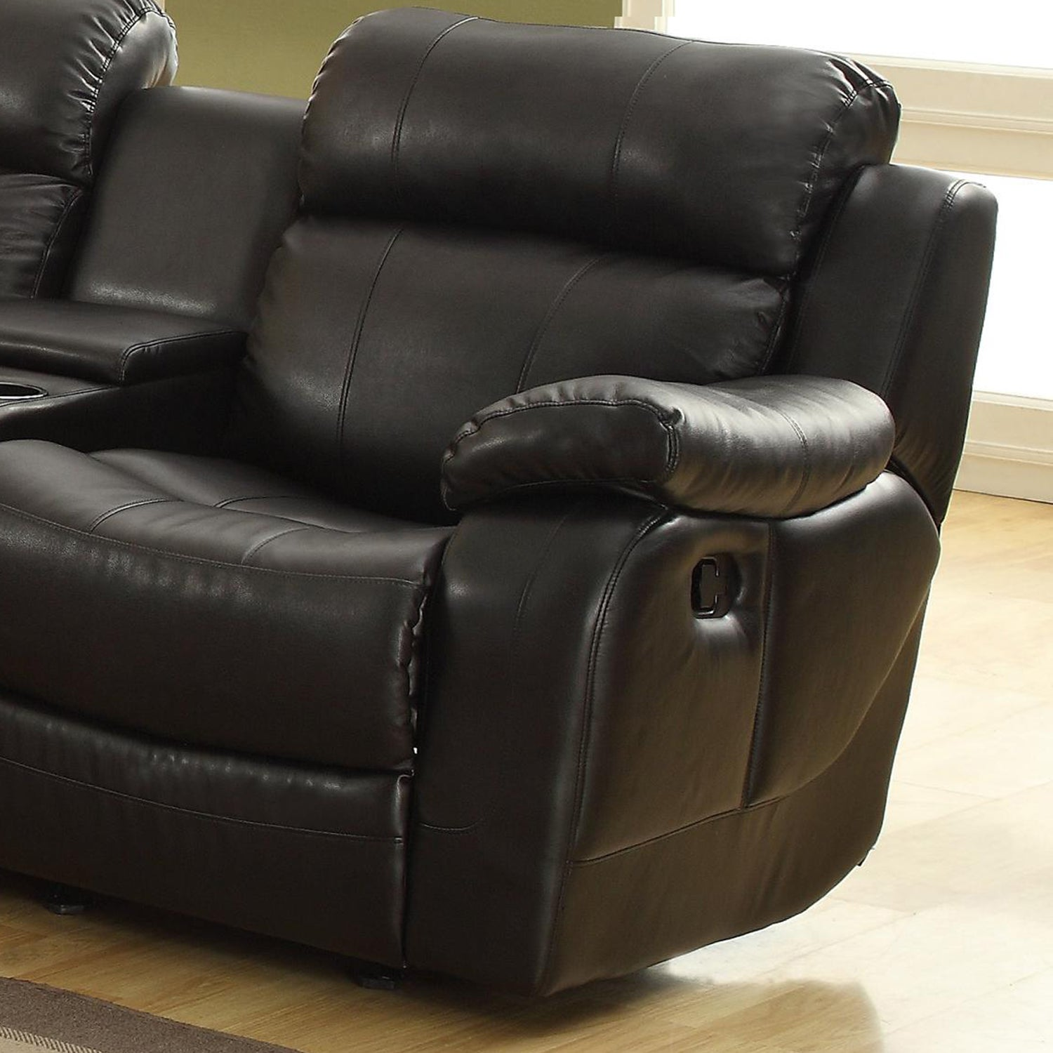 Eland Black Bonded Leather Sofa Set by iNSPIRE Q Classic Free