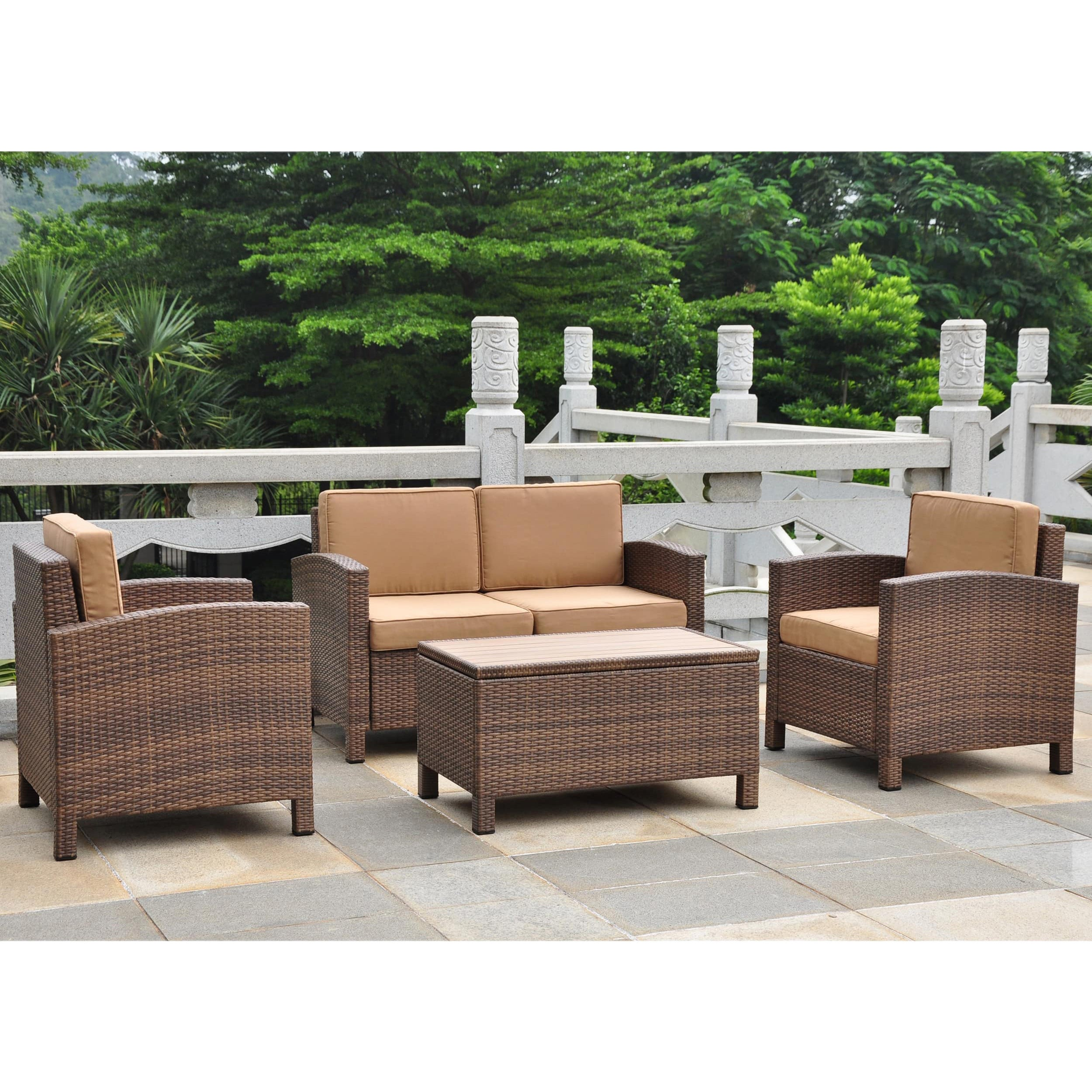 International Caravan Barcelona Resin Wicker Aluminum Conversation Patio Set With Cushions Set Of 4