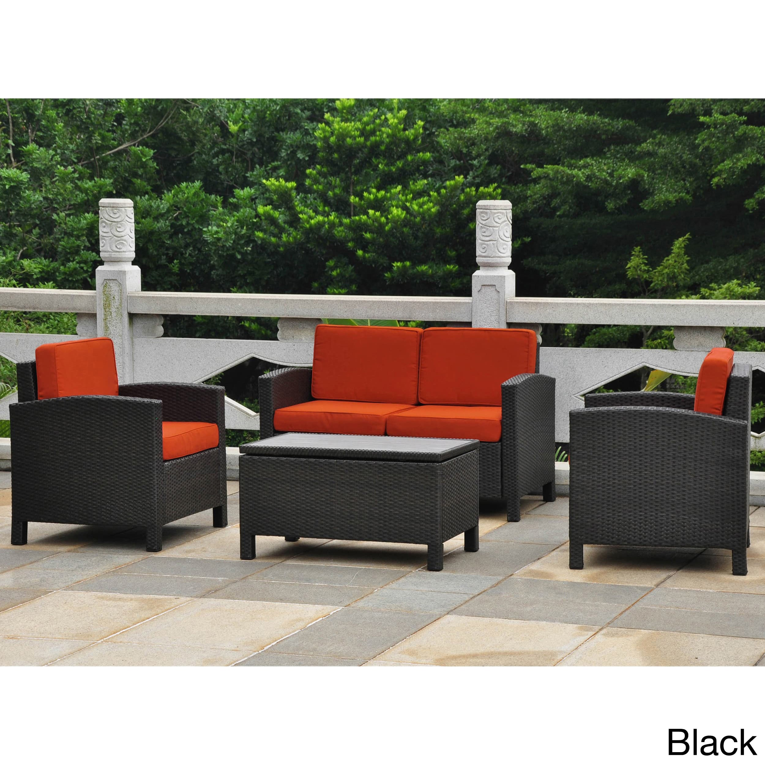 Shop International Caravan Barcelona Resin Wicker/ Aluminum Conversation  Patio Set With Cushions (Set Of 4)   Free Shipping Today   Overstock.com    7330162