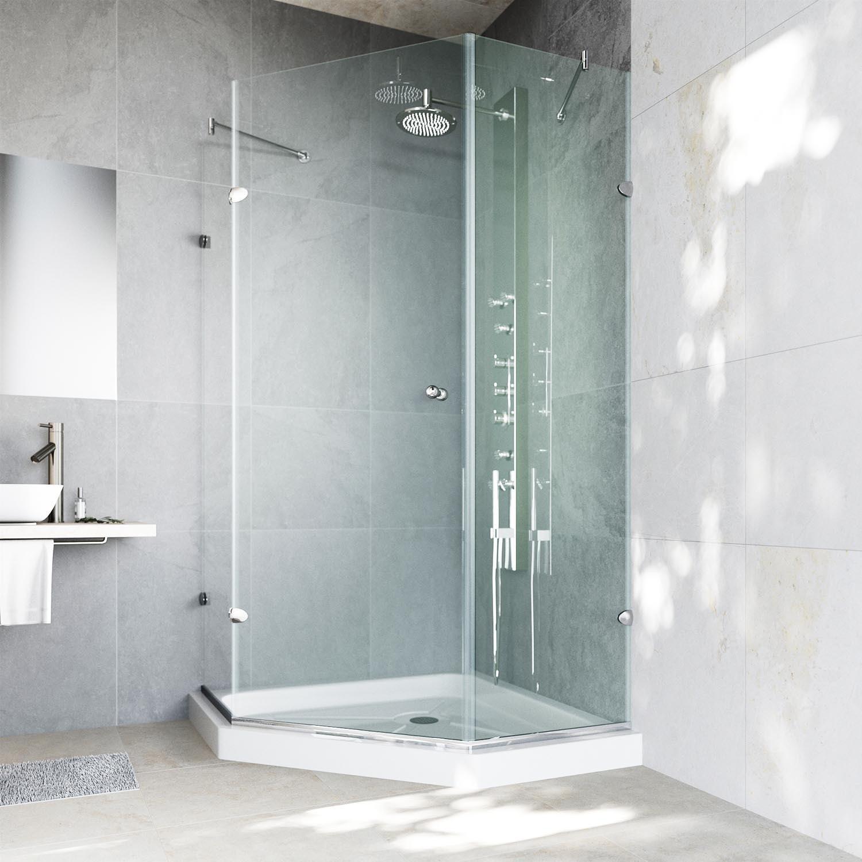 Shop VIGO 40 x 40 Frameless Neo-Angle 3/8-inch Clear Shower ...