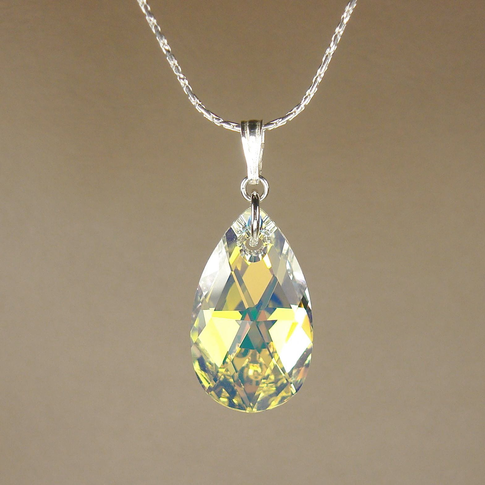 Shop handmade jewelry by dawn large crystal aurora borealis pear shop handmade jewelry by dawn large crystal aurora borealis pear sterling necklace usa on sale free shipping on orders over 45 overstock aloadofball Gallery