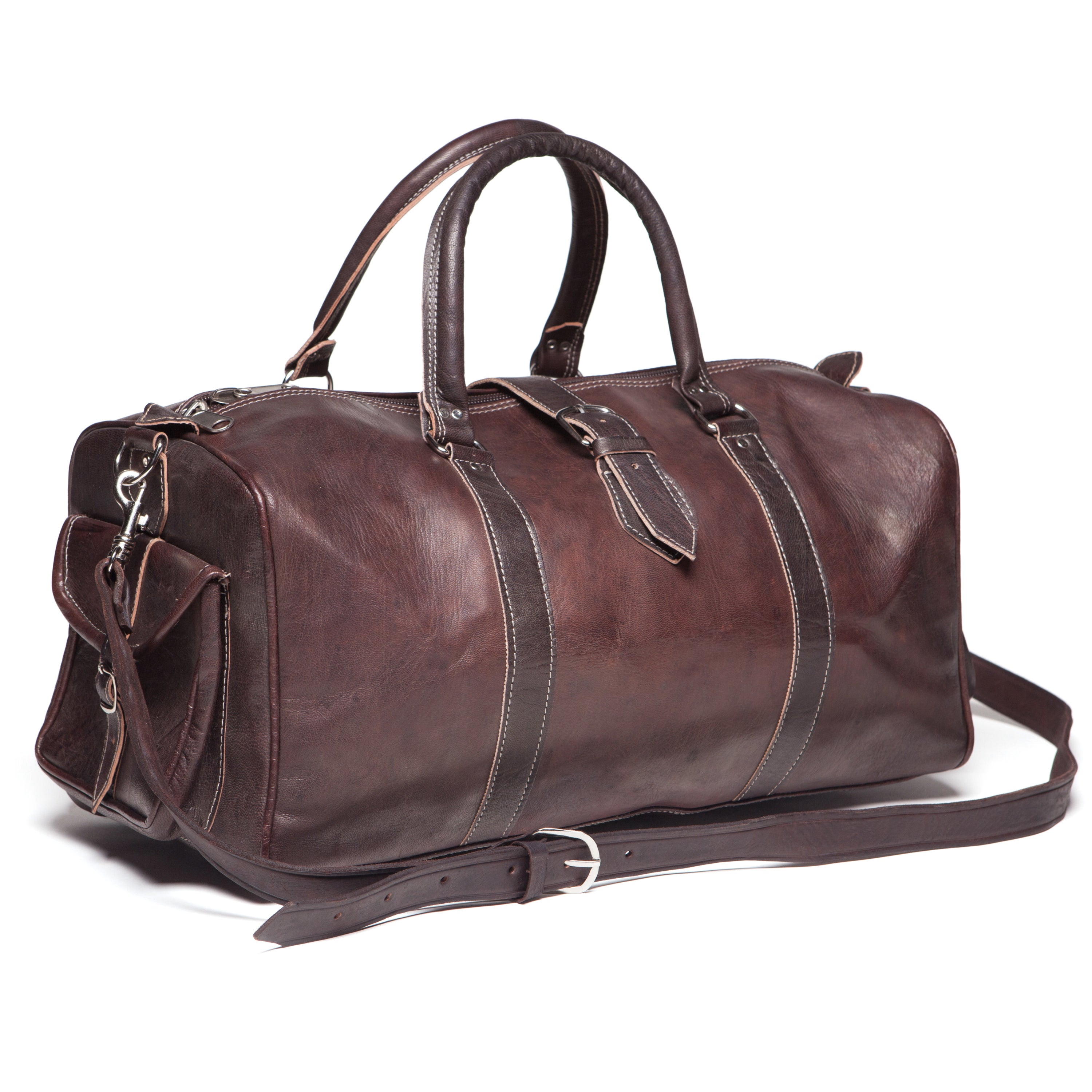 Shop Handmade Leather Duffle Bag (Morocco) - Free Shipping Today ... 89d3570a90