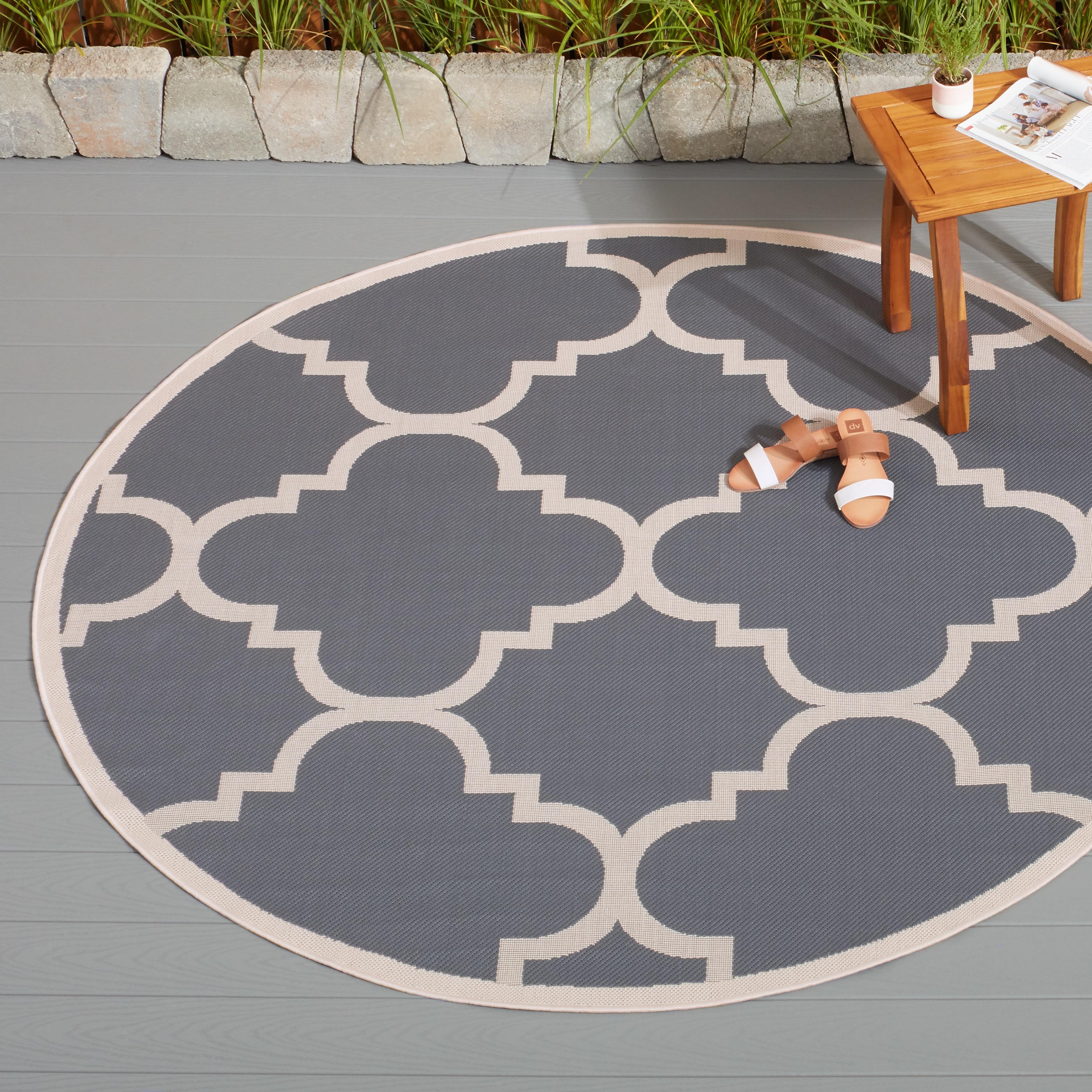 Safavieh Courtyard Quatrefoil Grey Beige Indoor Outdoor Rug