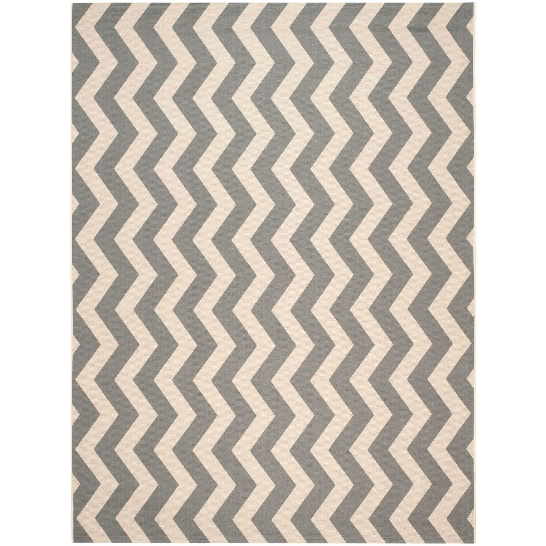 Safavieh Courtyard Zig Zag Grey Beige Indoor Outdoor Rug Free